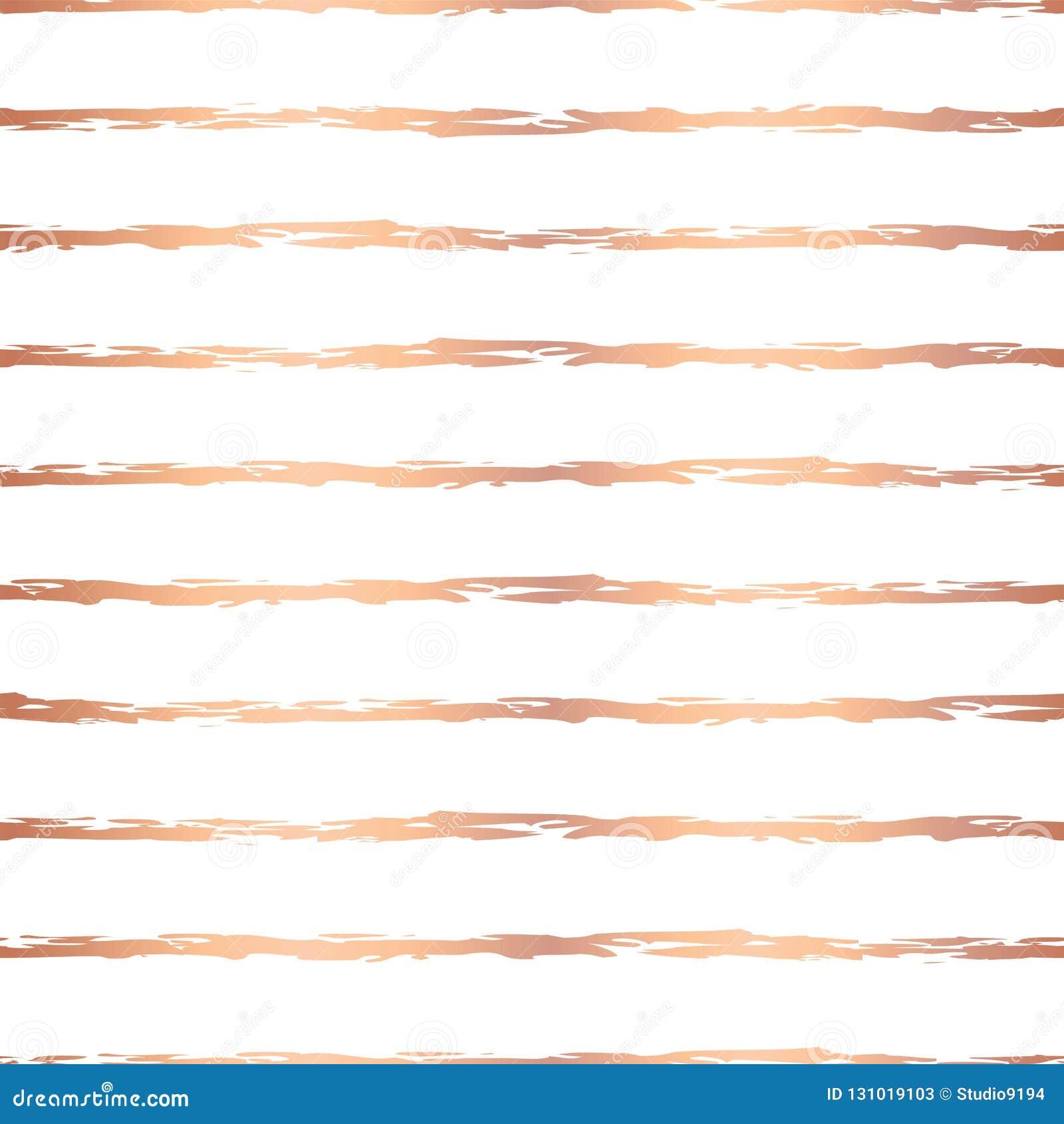 Horizontale Linien nahtloses Vektormuster Rose Gold-Folienhanddes gezogenen Bürstenanschlags Kupferne unregelmäßige Streifen auf