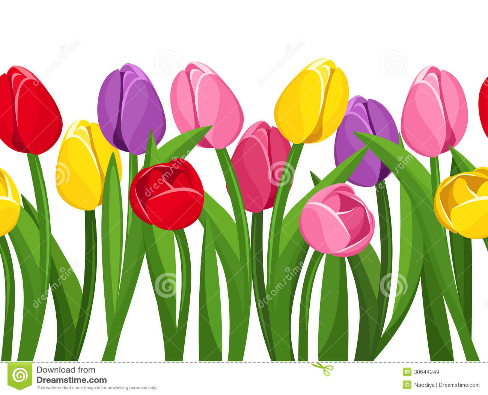 Horizontale Naadloze Achtergrond Met Gekleurde Tulpen  Royalty vrije Stock Afbeeldingen   Beeld
