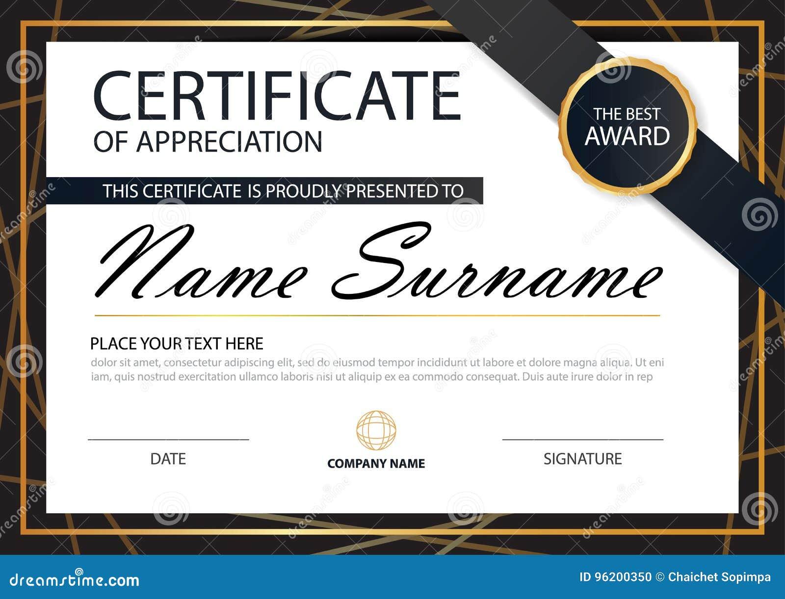 Horizontales Zertifikat der Goldschwarzen Eleganz mit Vektorillustration, weiße Rahmenzertifikatschablone mit sauberem und modern