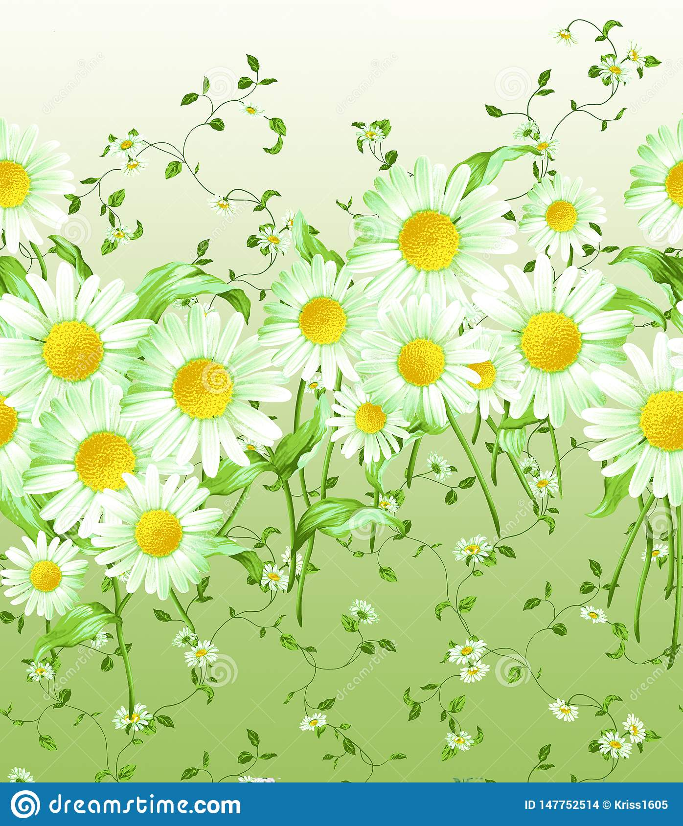 Horizontally repeating pattern of large and small daisies
