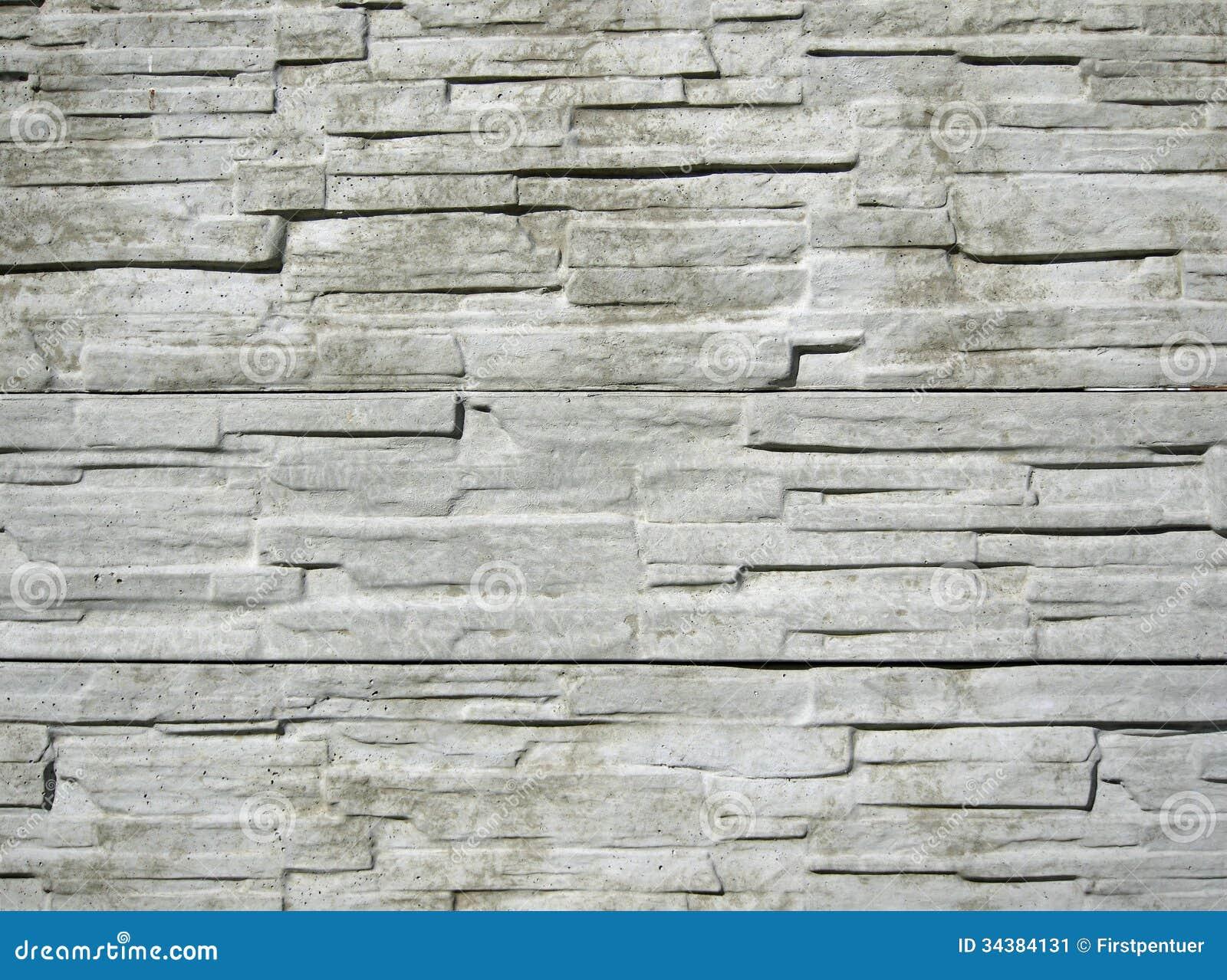 Horizontally Structured White Brick Wall Stock Image