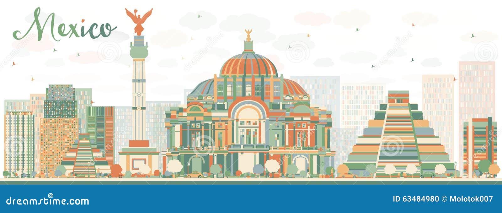 Pasador Ubicación Mapa Gráficos Vectoriales Gratis En: Horizonte Abstracto De México Con Las Señales Del Color