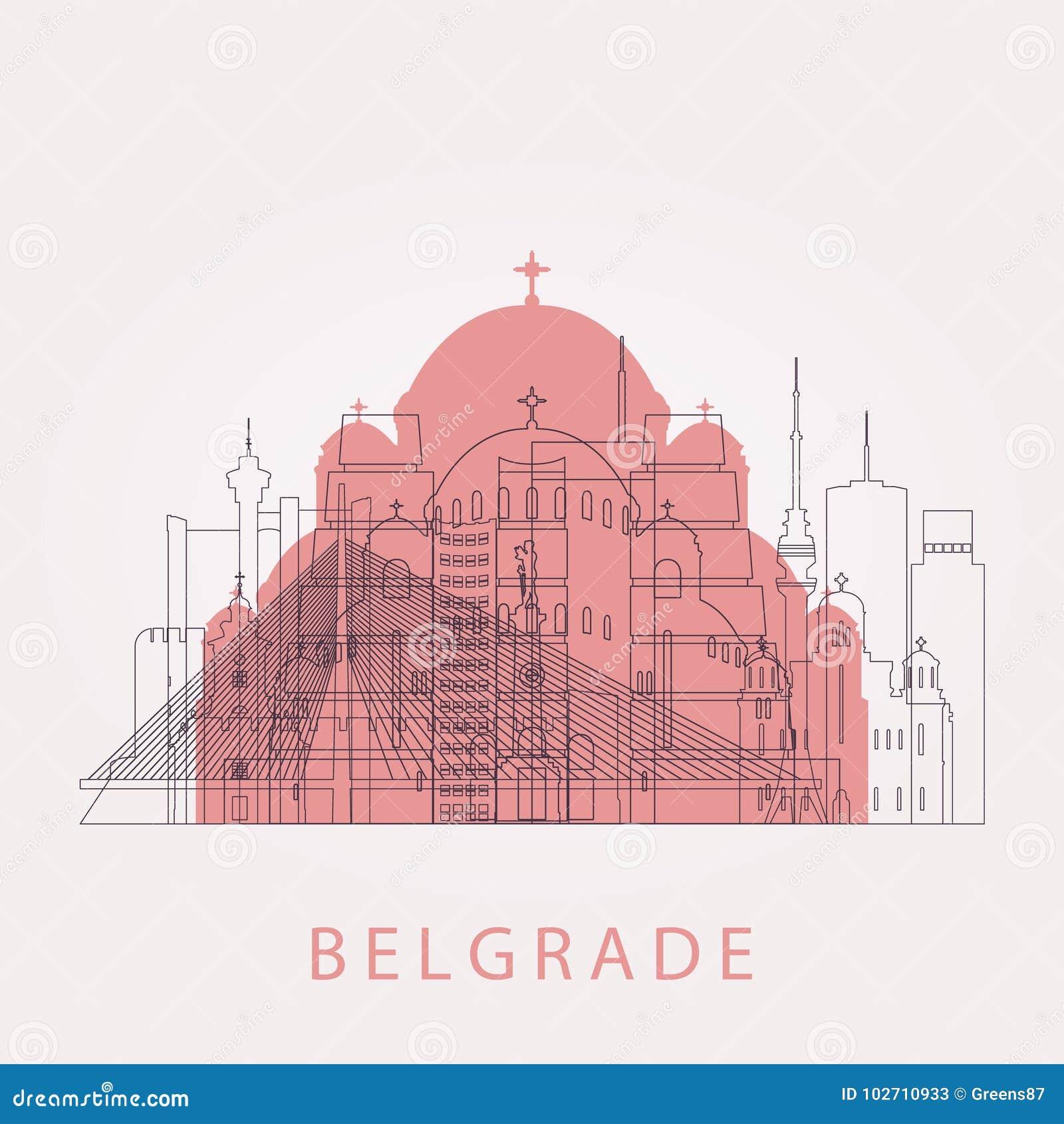 Horizonte de Belgrado del esquema con las señales