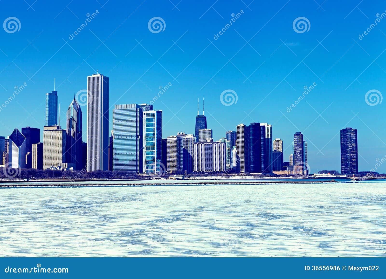 Horizonte de Chicago en el invierno