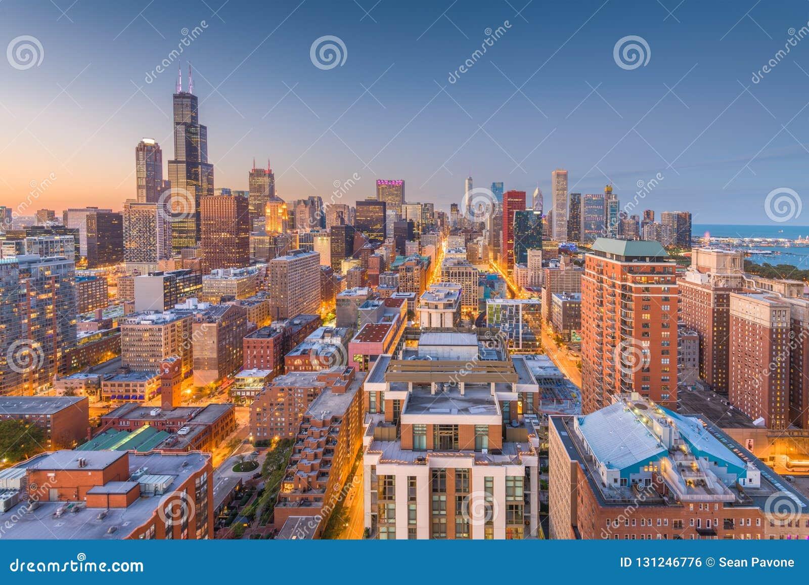 Horizonte de Chicago, Illinois, los E.E.U.U.