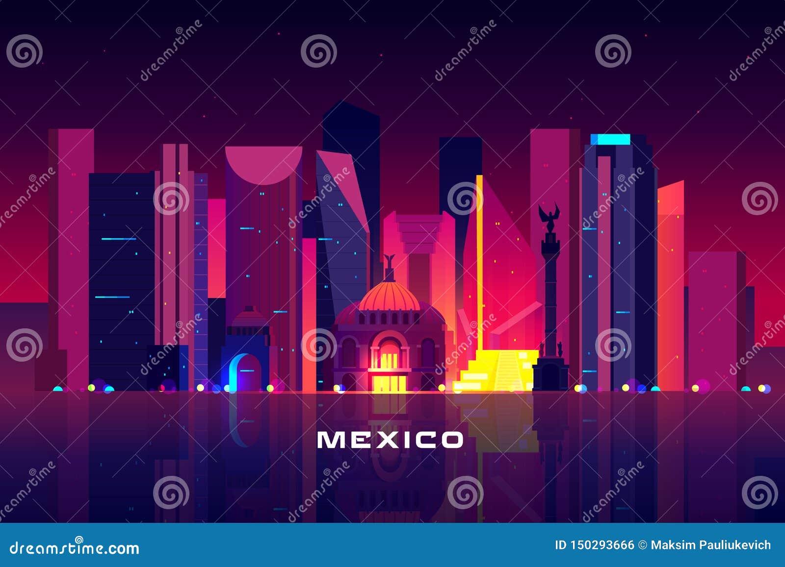 Horizonte de Ciudad de México, paisaje urbano de iluminación de neón de la noche