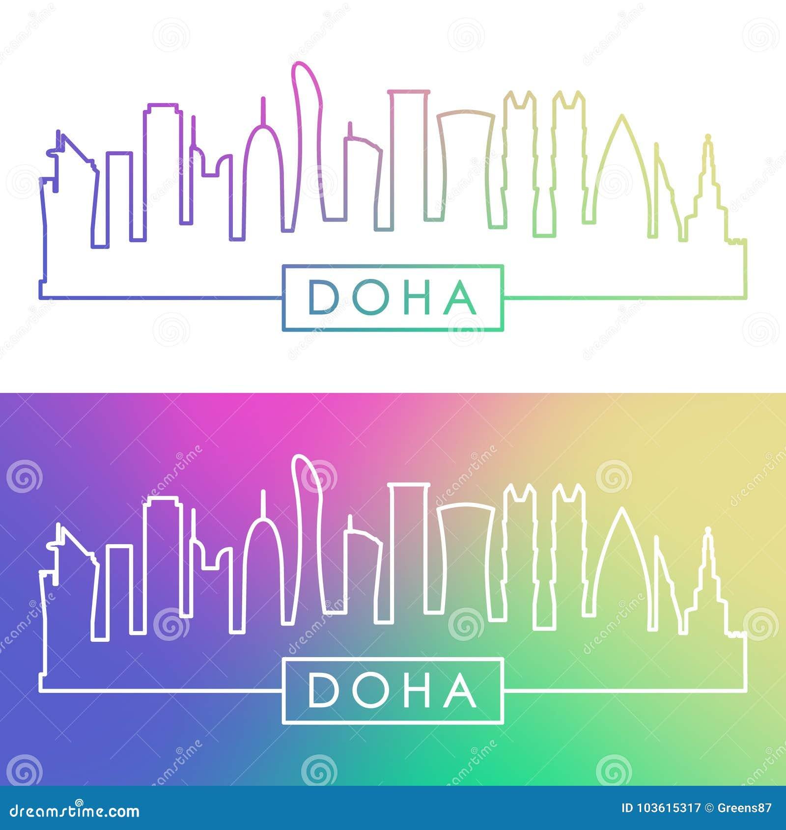 Horizonte de Doha Estilo linear colorido