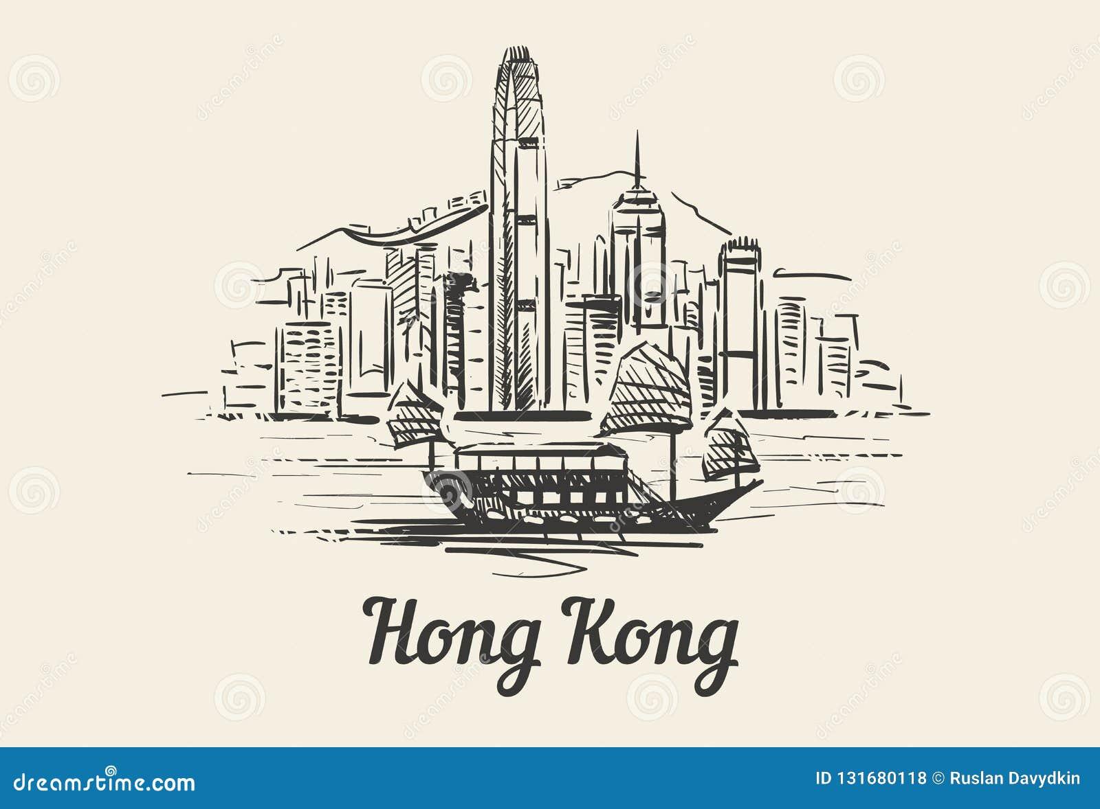 Horizonte de Hong Kong con bosquejo exhausto de la mano del barco