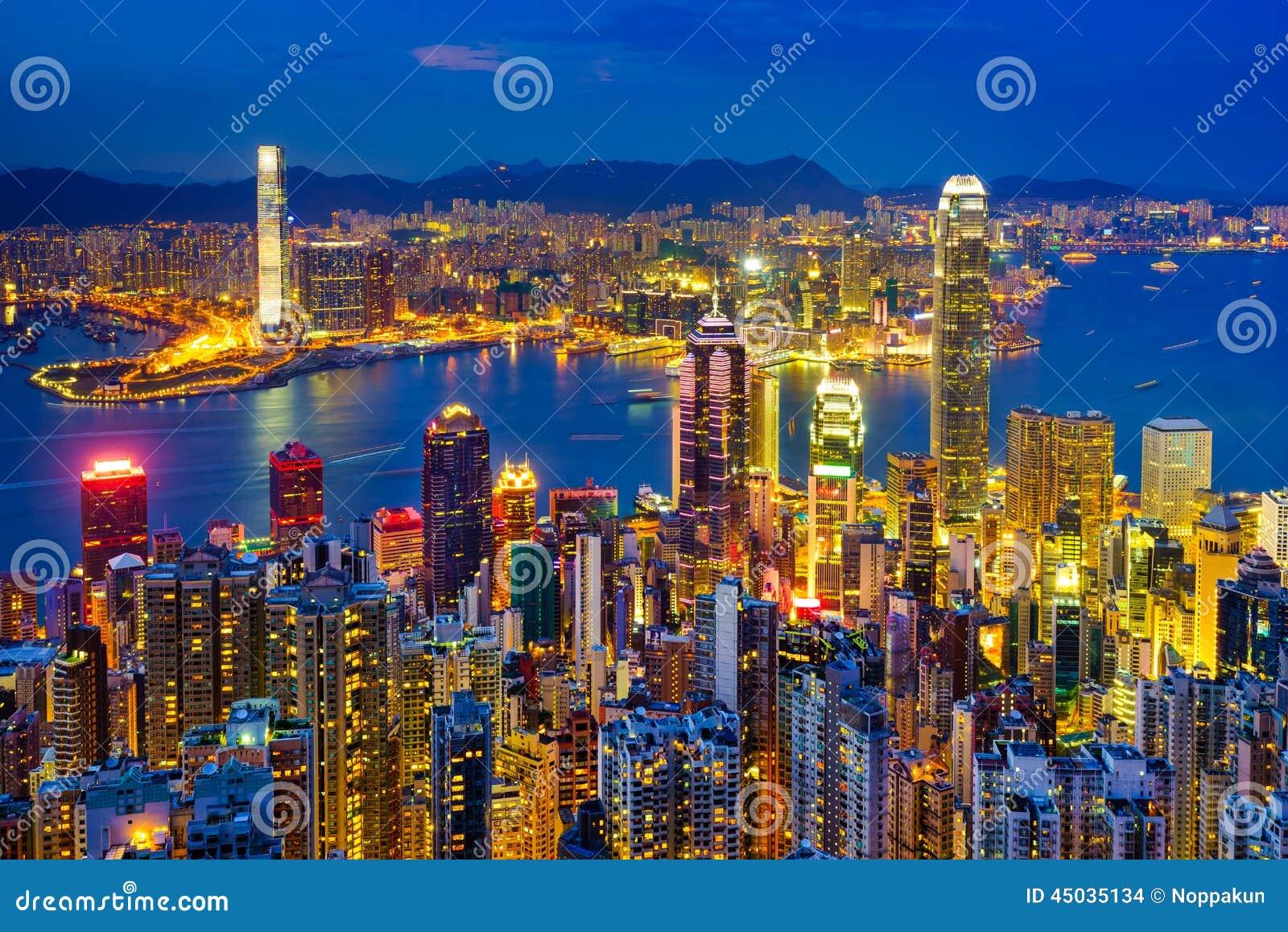 Horizonte de Hong-Kong en la noche