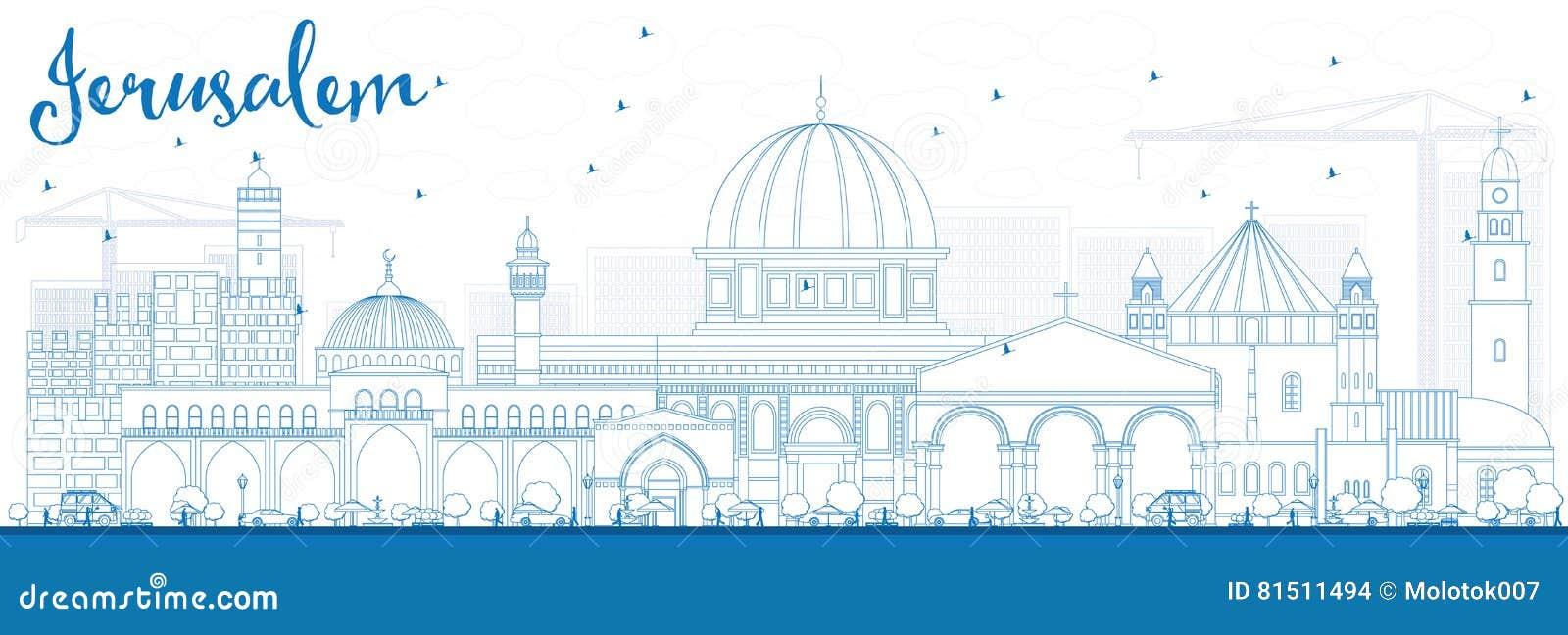 Horizonte de Jerusalén del esquema con los edificios azules