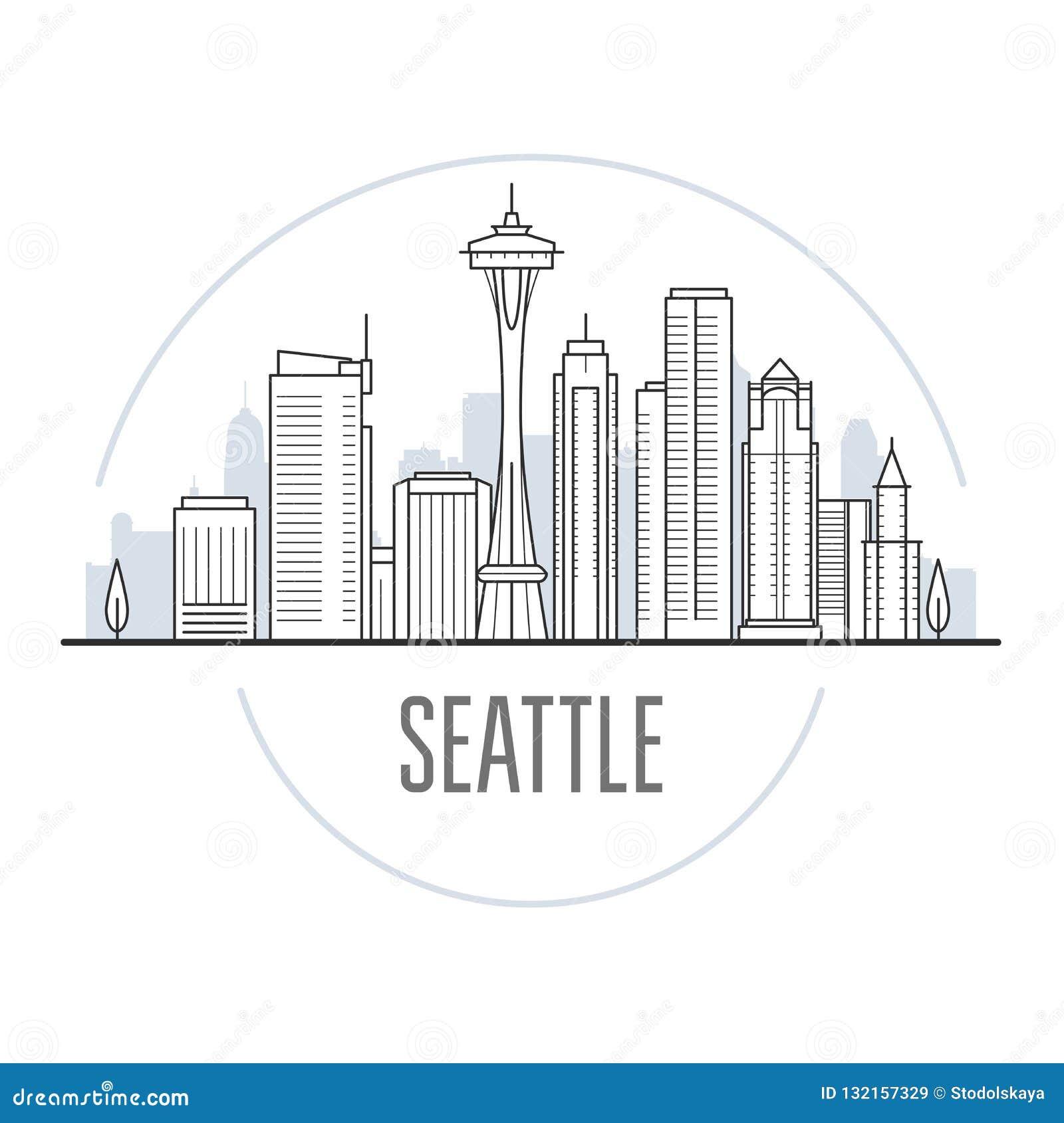 Horizonte de la ciudad de Seattle - señales de Seattle, paisaje urbano