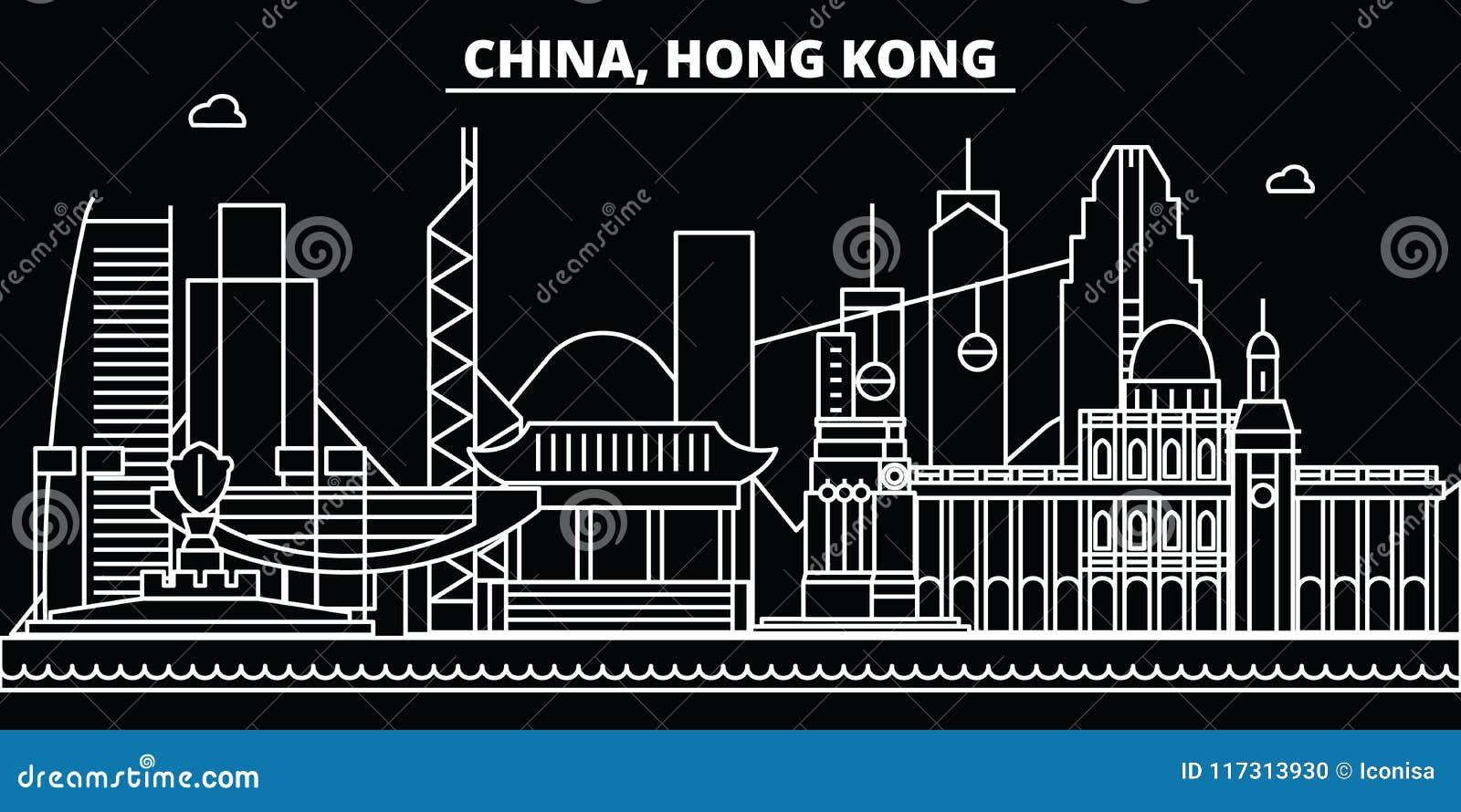 Horizonte de la silueta de Hong Kong Ciudad del vector de China - de Hong Kong, arquitectura linear china, edificios Viaje de Hon