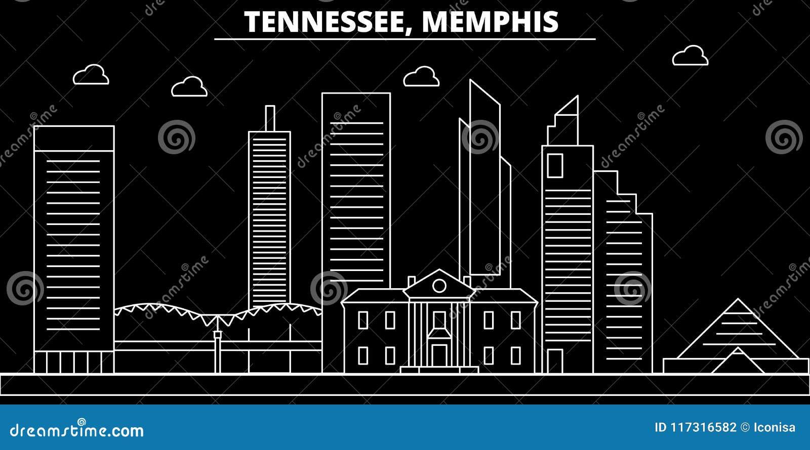 Horizonte de la silueta de Memphis LOS E.E.U.U. - Ciudad del vector de Memphis, arquitectura linear americana, edificios Viaje de