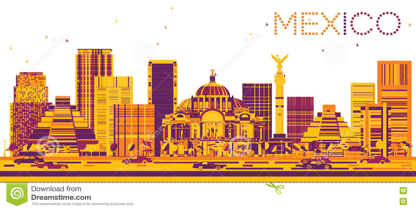 Horizonte de México con los edificios del color