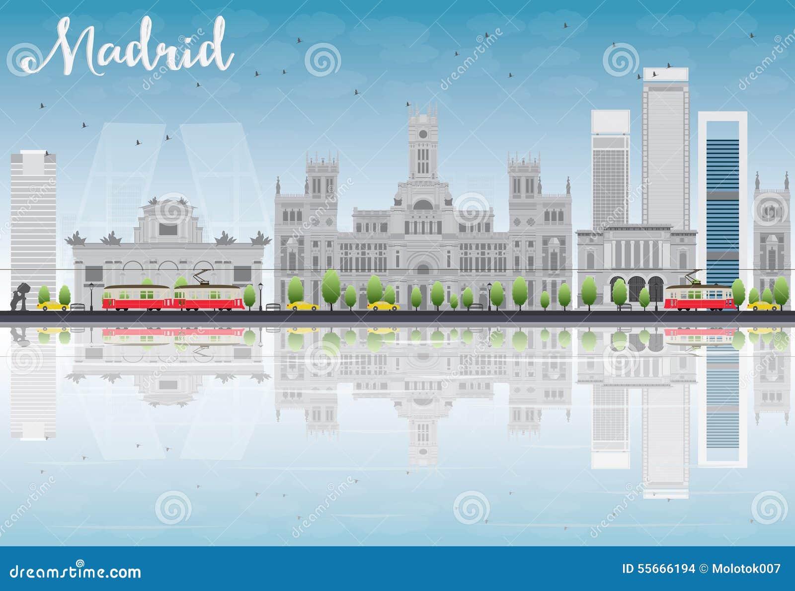 Horizonte de Madrid con los edificios grises, el cielo azul y reflexiones