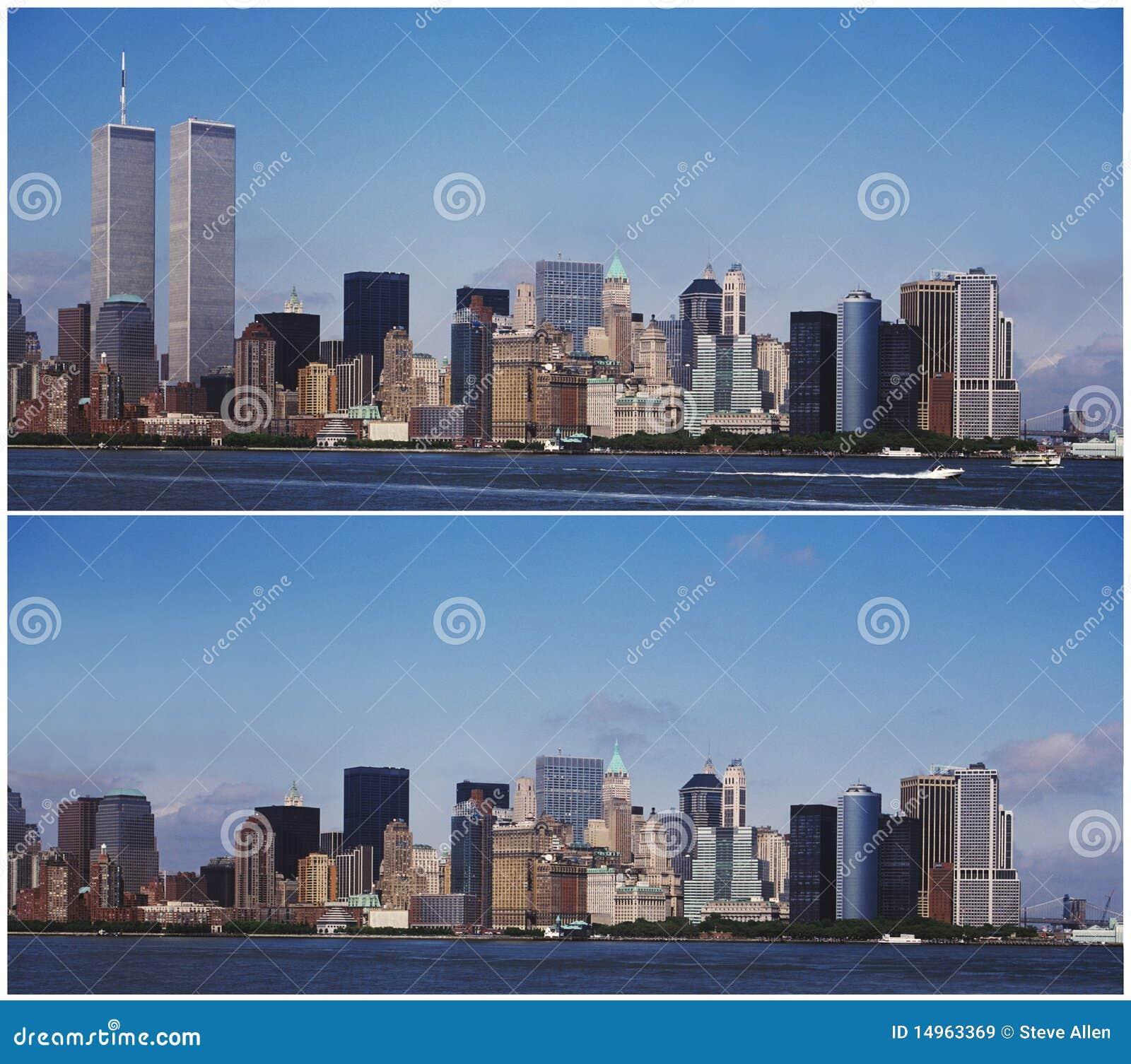 Horizonte de Nueva York Manhattan - antes y después de 9/11