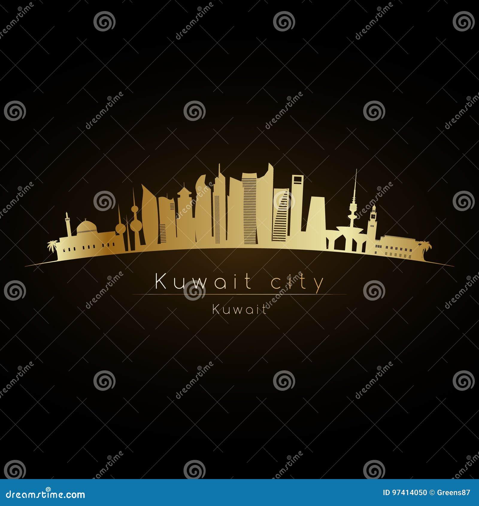 Horizonte de oro de la ciudad de Kuwait del logotipo