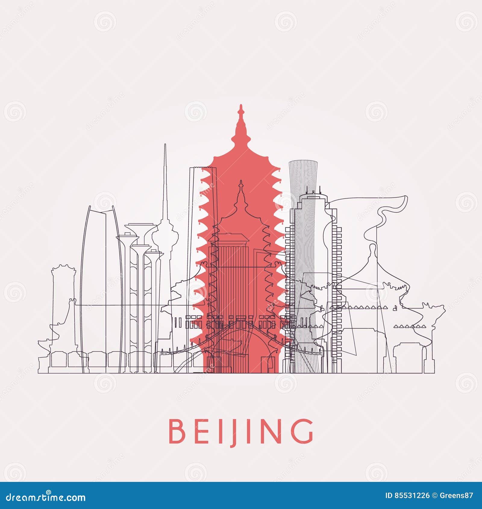 Horizonte de Pekín del esquema con las señales