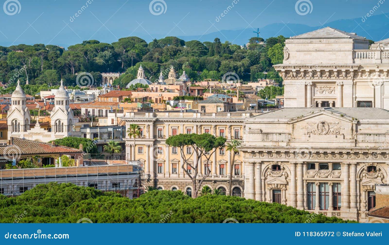 Horizonte De Roma Según Lo Visto Del ángel De Castel Sant