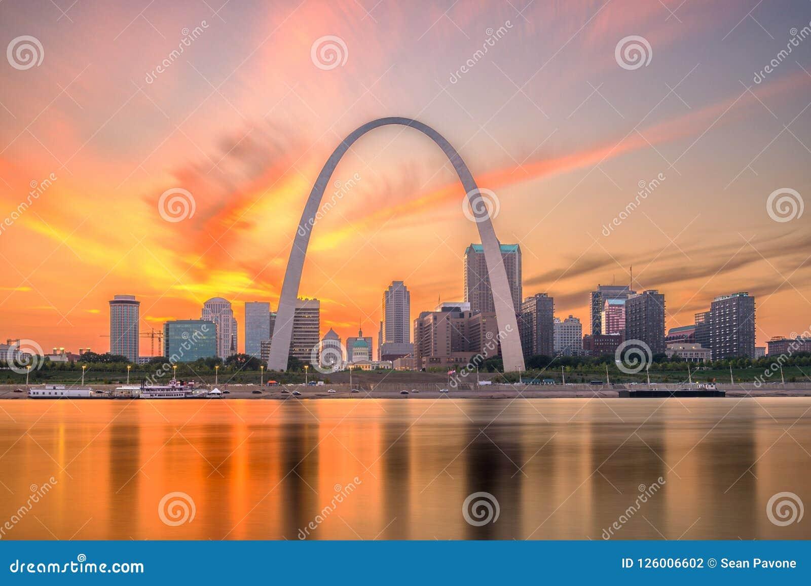 Horizonte de St. Louis, Missouri, los E.E.U.U.