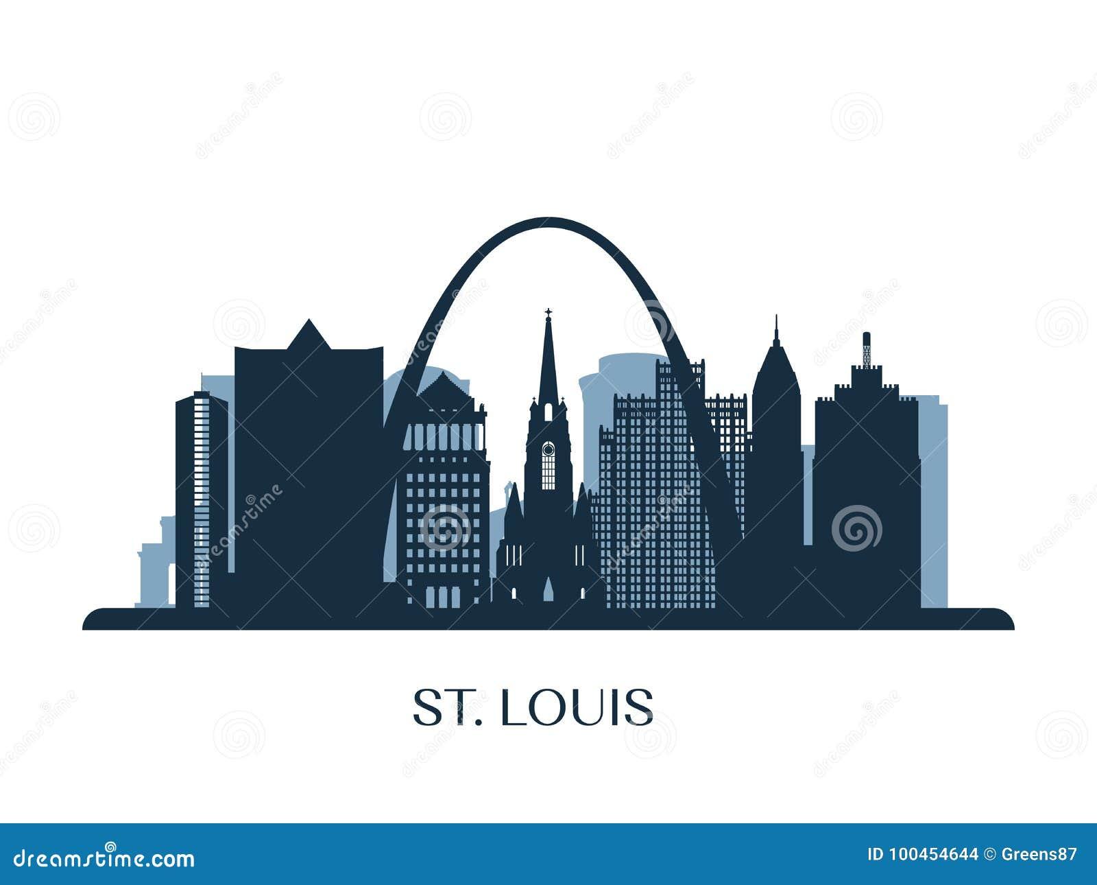 Horizonte de St. Louis, silueta monocromática