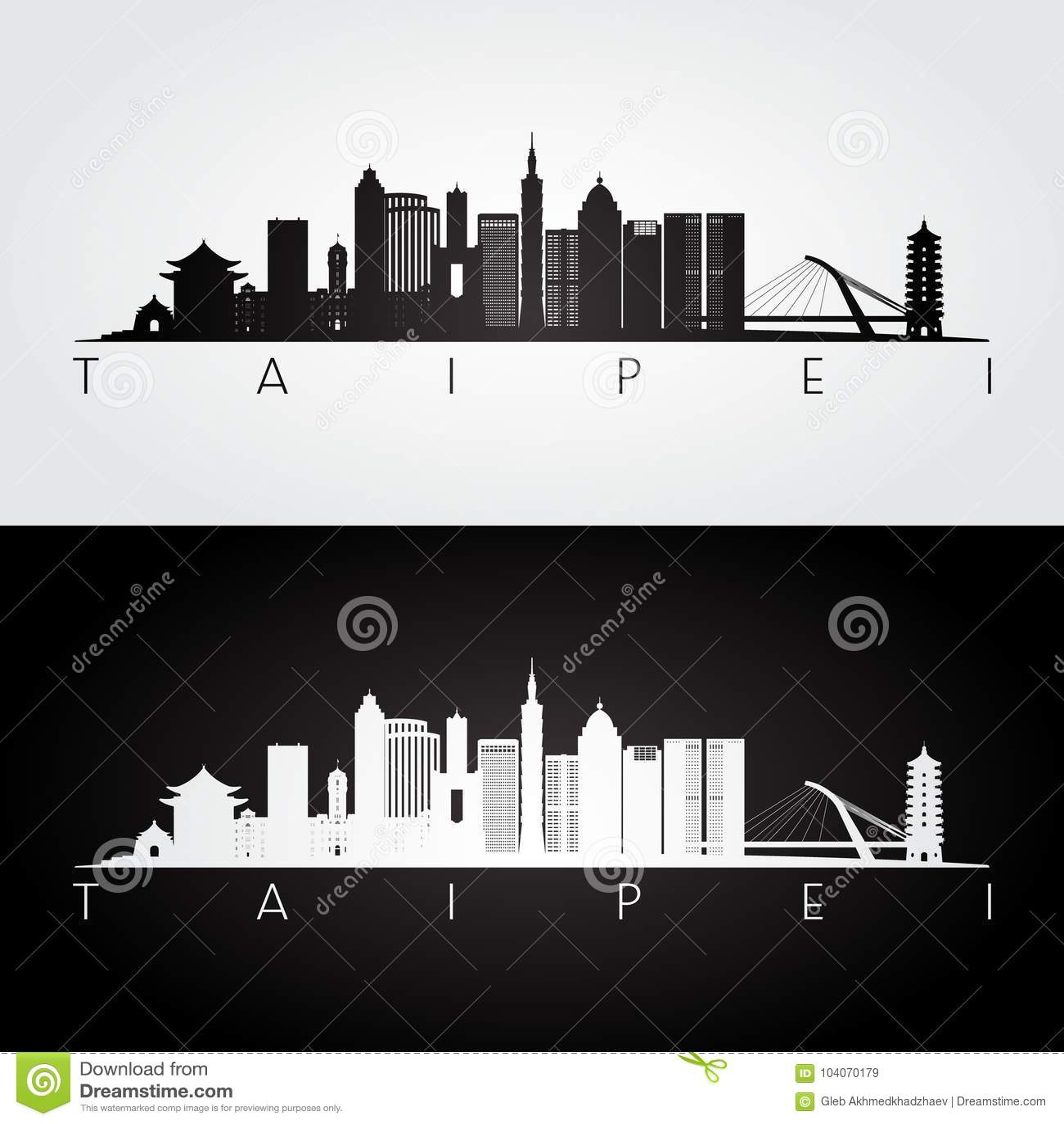 Horizonte de Taipei y silueta de las señales