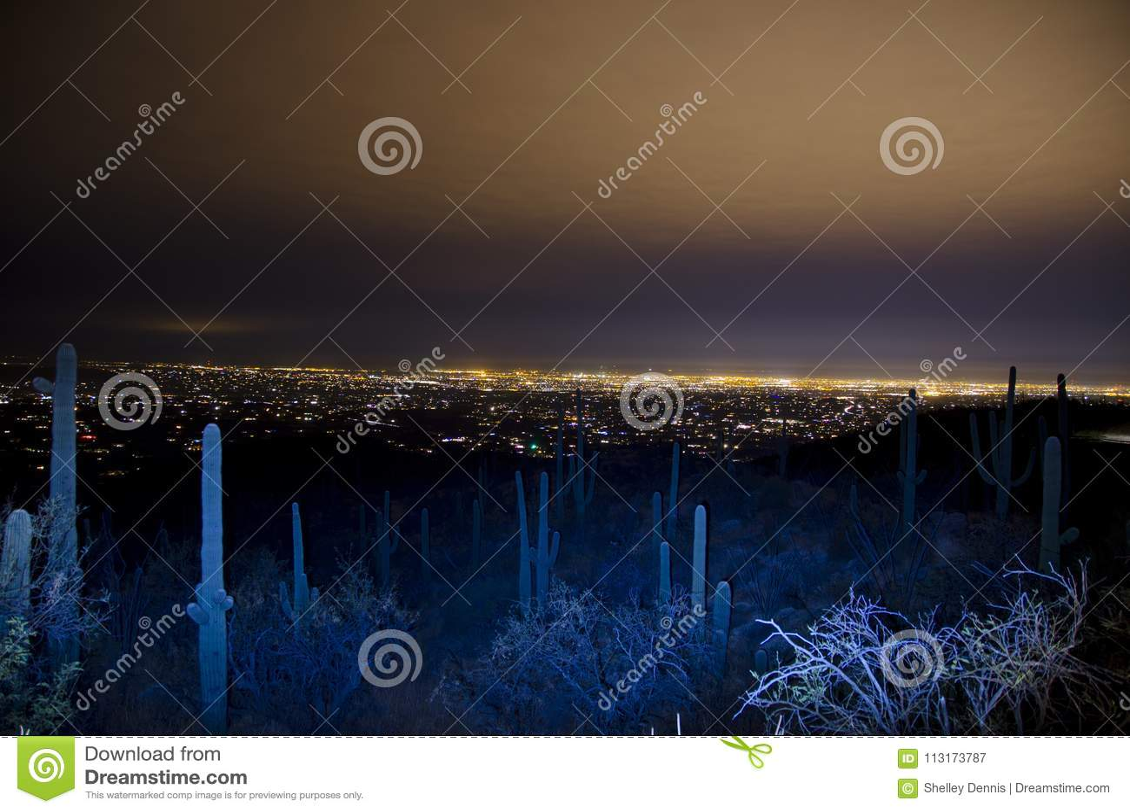 Horizonte de Tucson en la noche