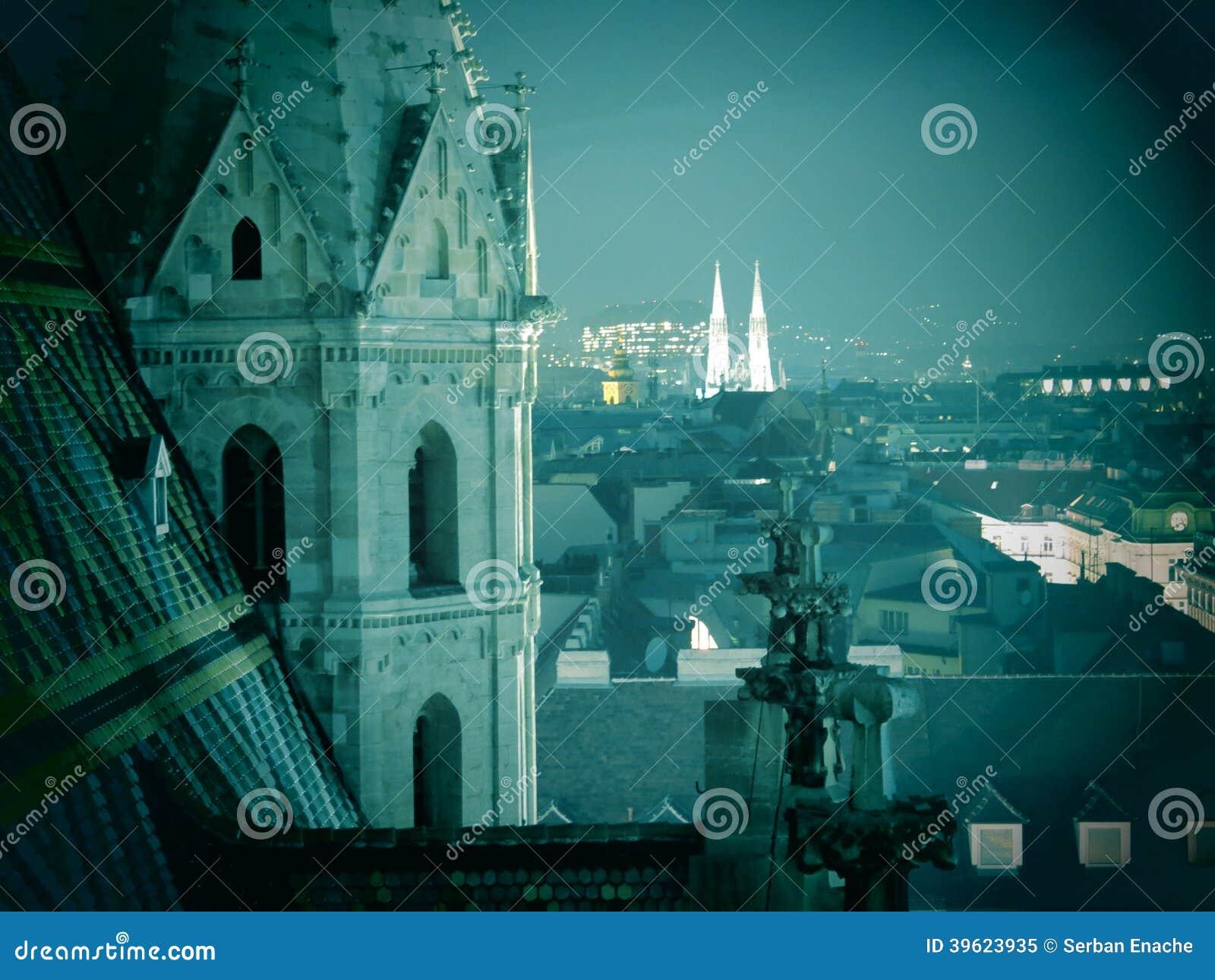 Horizonte de Viena en la noche