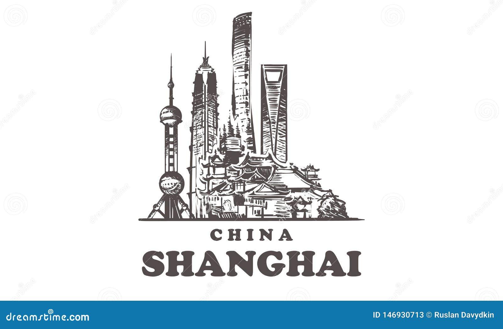 Horizonte del bosquejo de Shangai Ejemplo exhausto del vector de la mano de China, Shangai