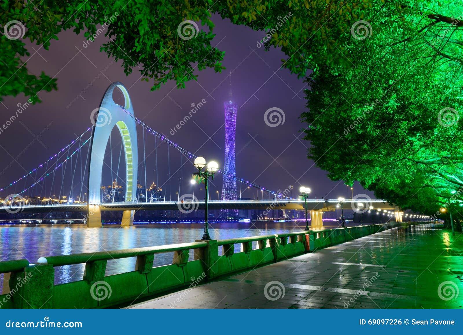 Horizonte del río de Guangzhou China