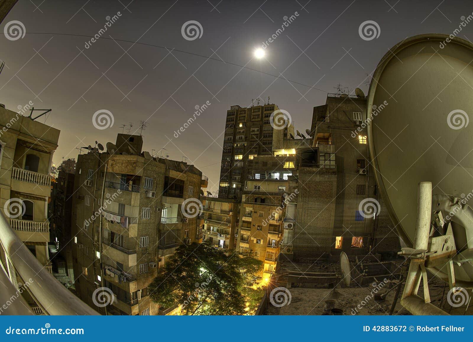 Horizonte El Cairo de la noche