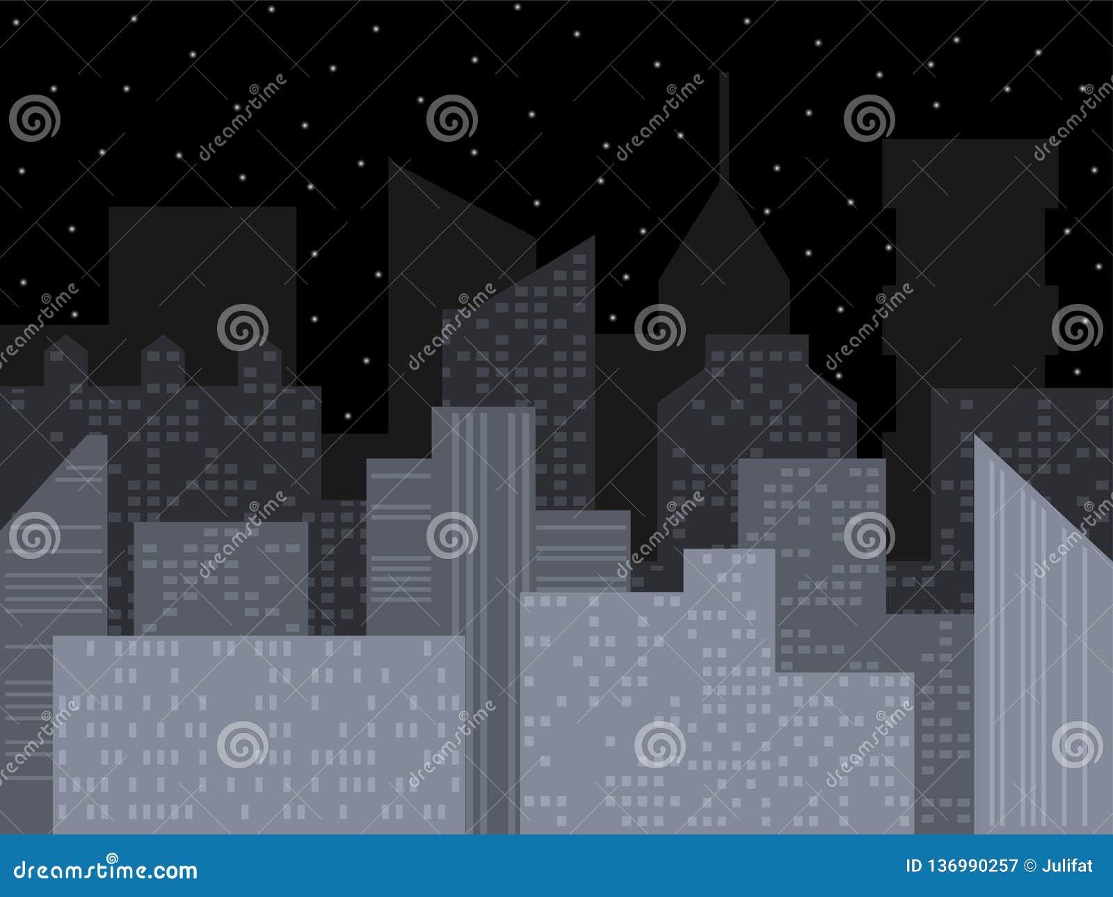 Horizonte moderno de la ciudad Ejemplo del vector de la ciudad de la noche Paisaje urbano urbano del vector del esquema Fondo del