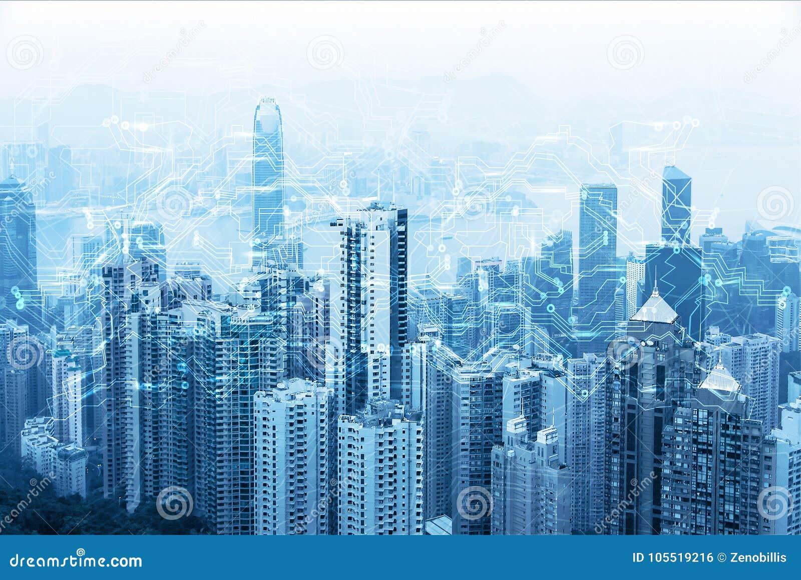 Horizonte urbano moderno Comunicaciones globales y establecimiento de una red Ciberespacio en ciudad grande Datos y conexión a in