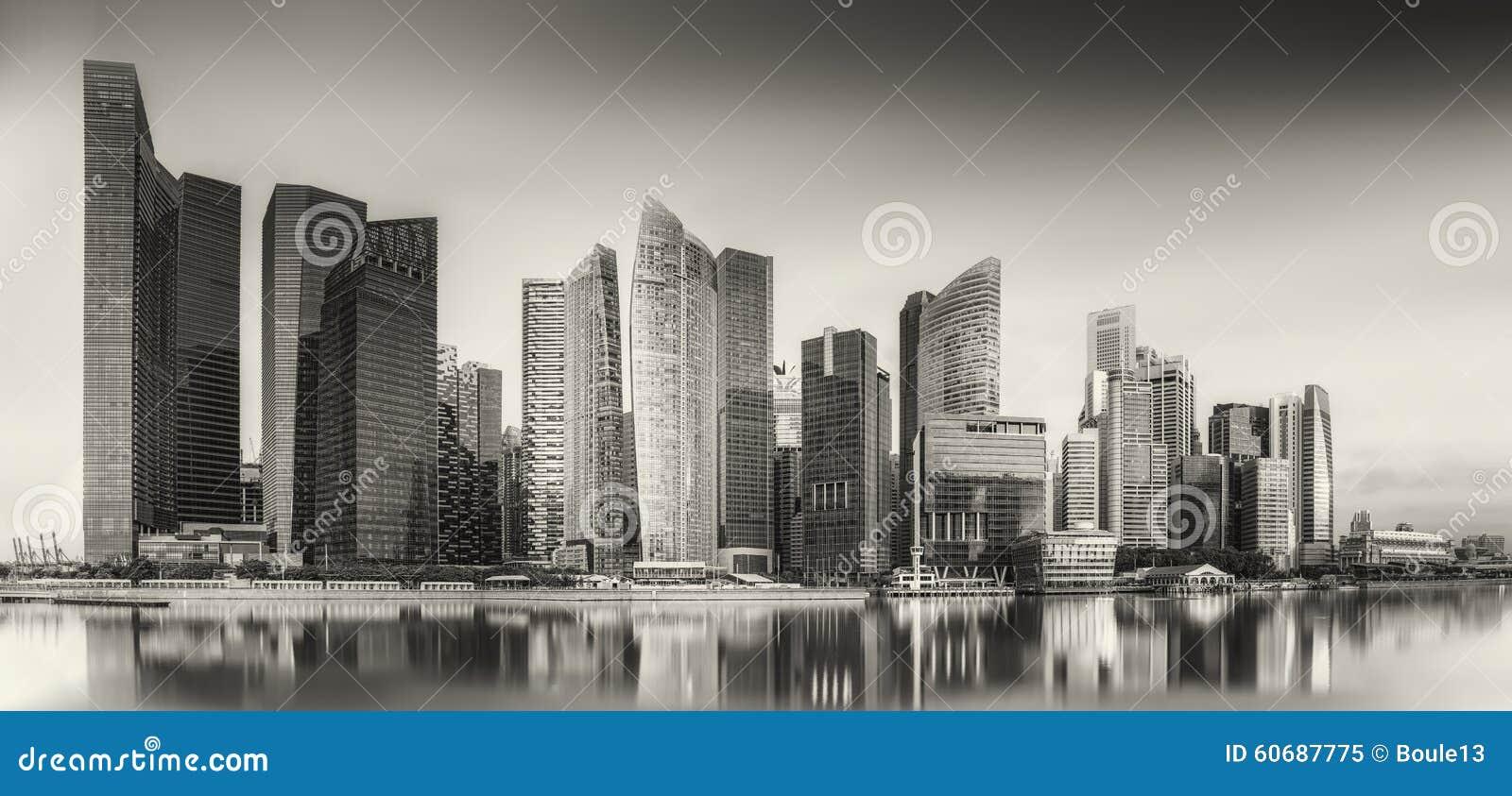 Horizonte y Marina Bay de Singapur, blancos y negros
