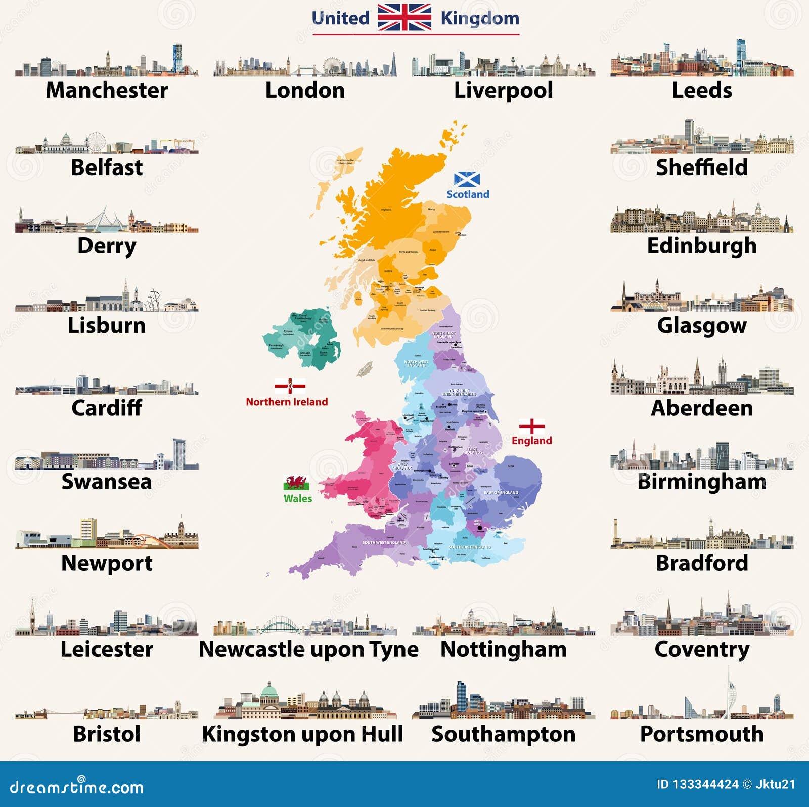 Ciudades De Inglaterra Mapa.Horizontes De Las Ciudades De Reino Unido Mapa Detallado De