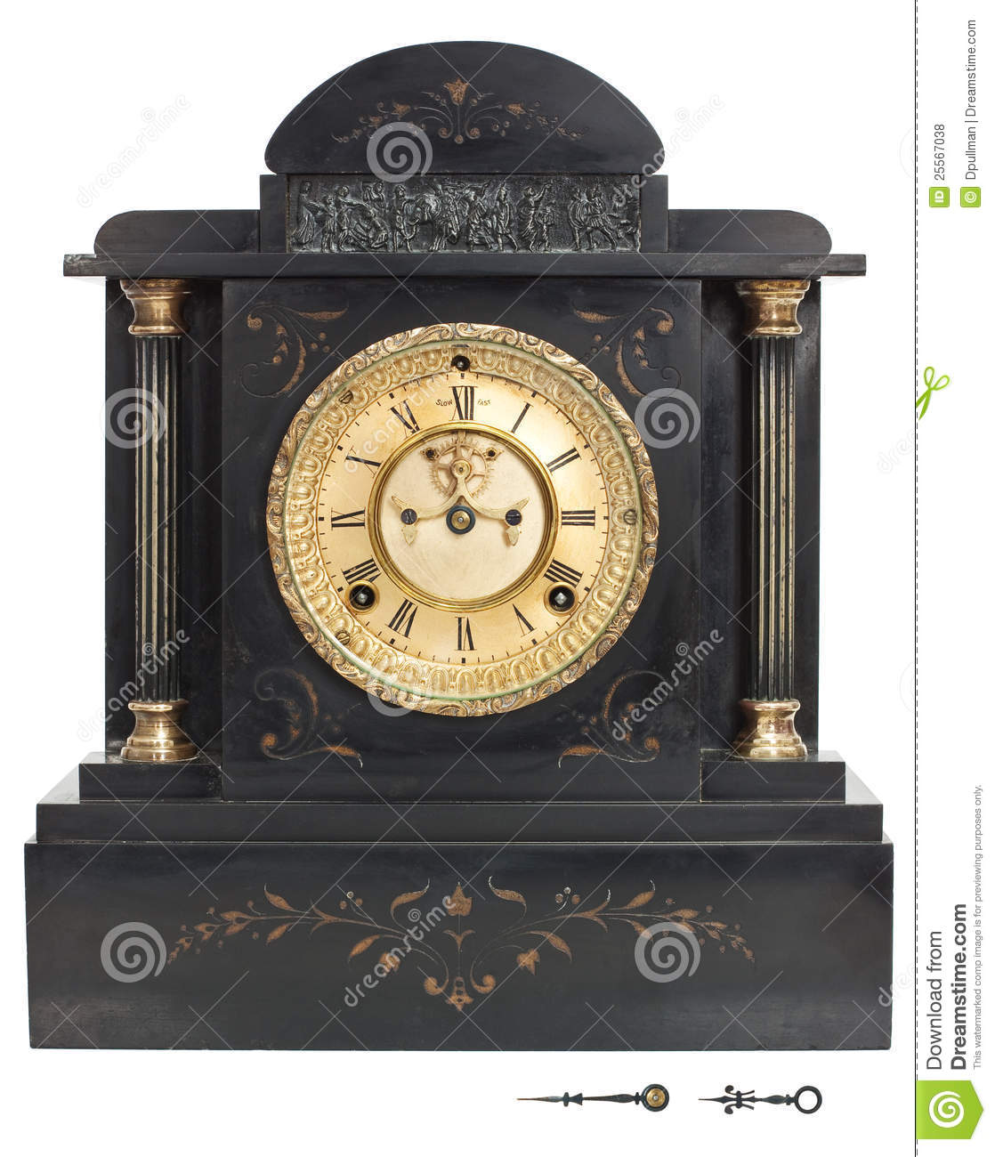 horloge antique avec les chiffres romains photo stock image du vieux clockwork 25567038. Black Bedroom Furniture Sets. Home Design Ideas