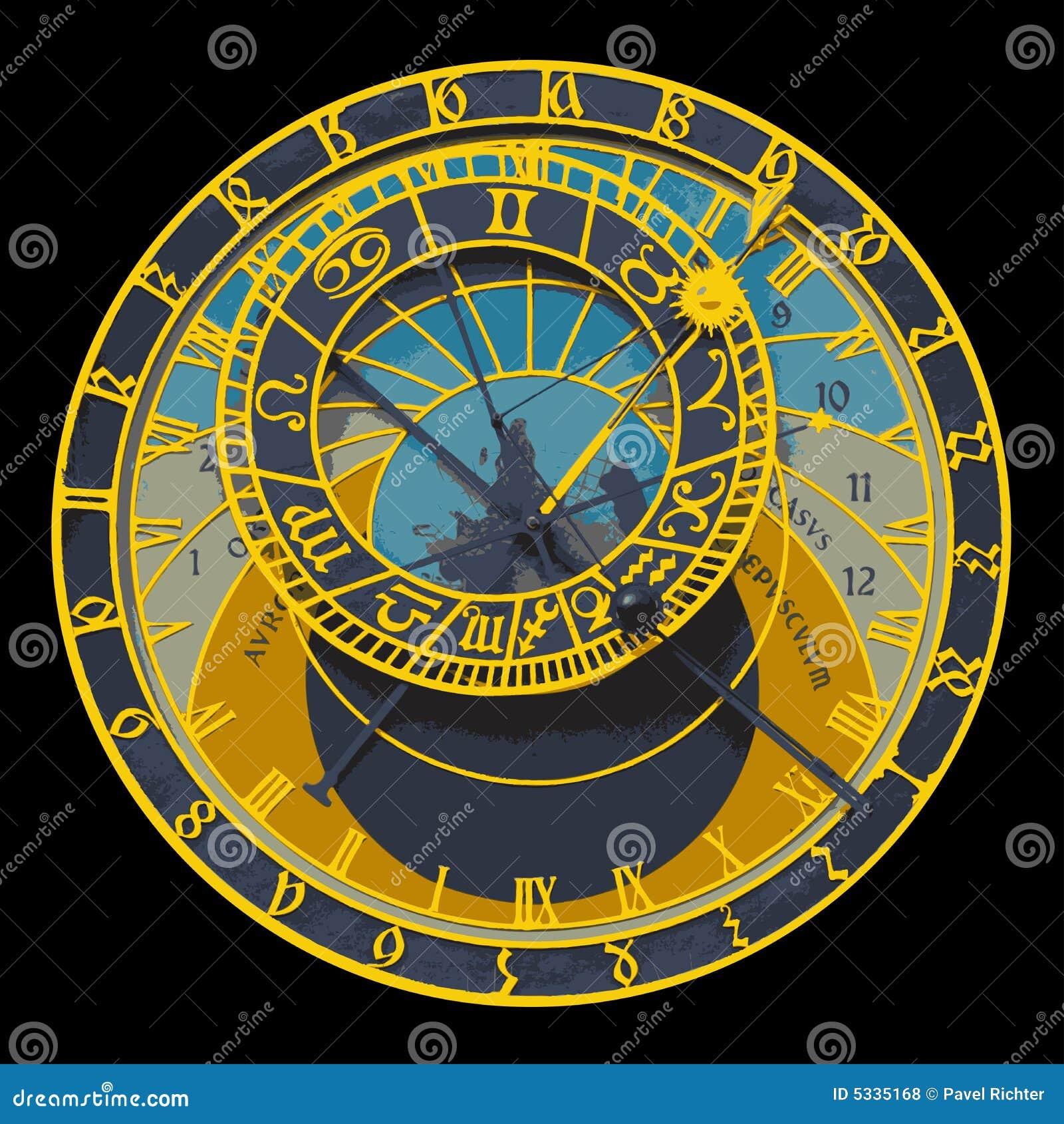 horloge astronomique de prague illustration de vecteur illustration du hall europe 5335168. Black Bedroom Furniture Sets. Home Design Ideas