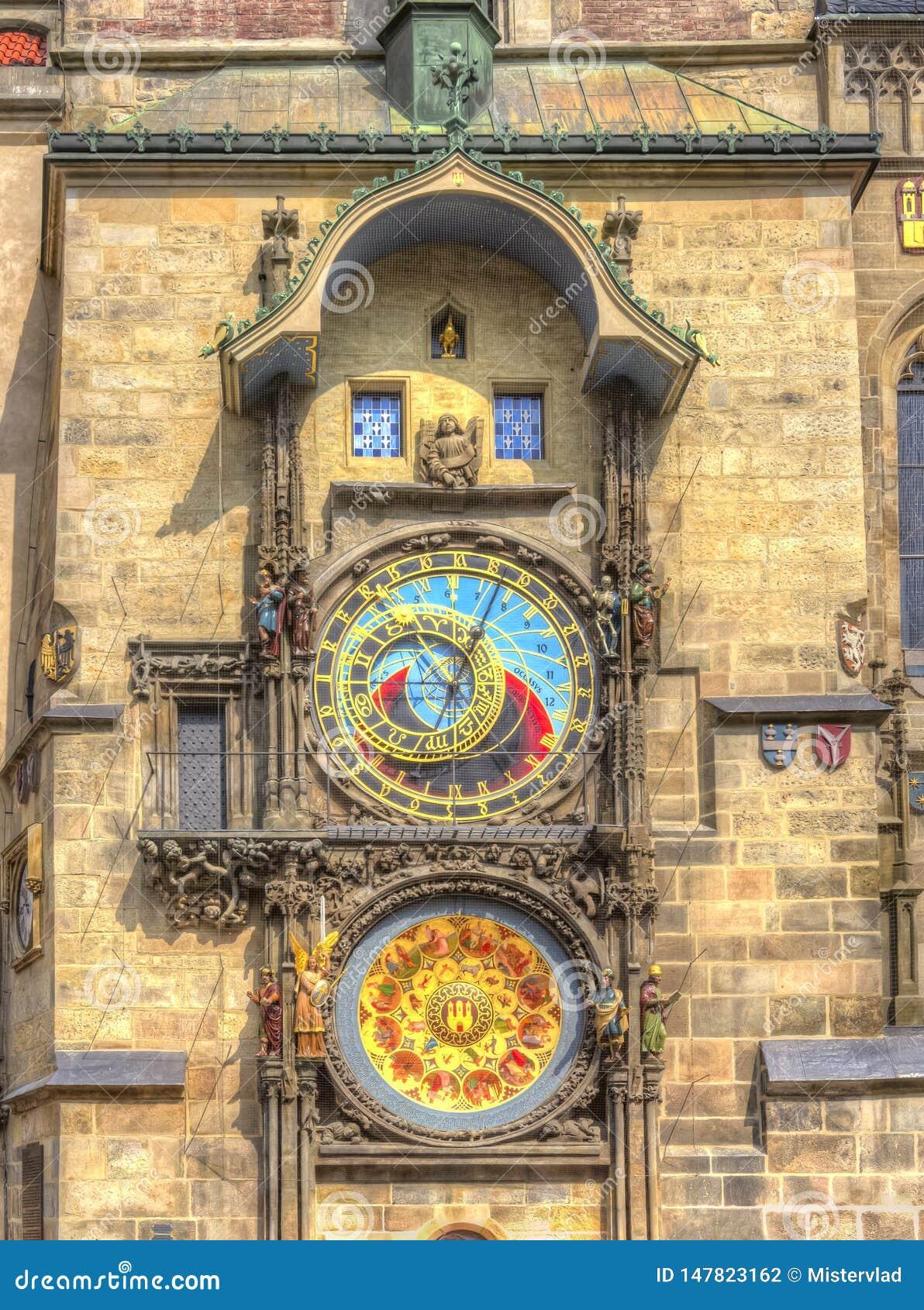 Horloge astronomique de Prague sur la tour d Hôtel de Ville, République Tchèque
