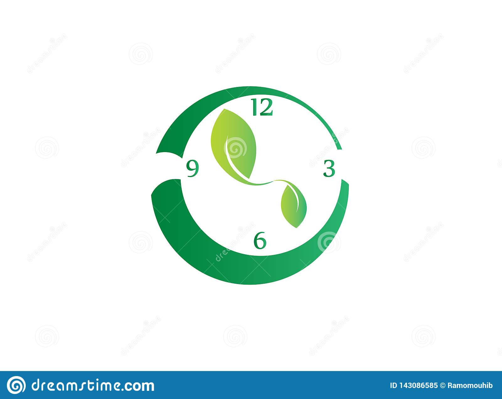 Horloge avec des feuilles en tant que symbole dans le sens horaire pour sauver la nature pour la conception de logo
