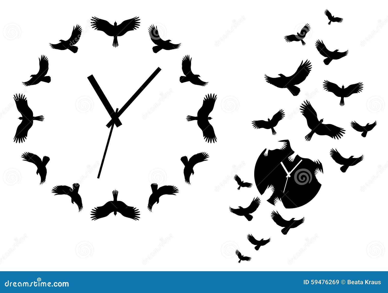 horloge avec des oiseaux de vol  vecteur illustration de