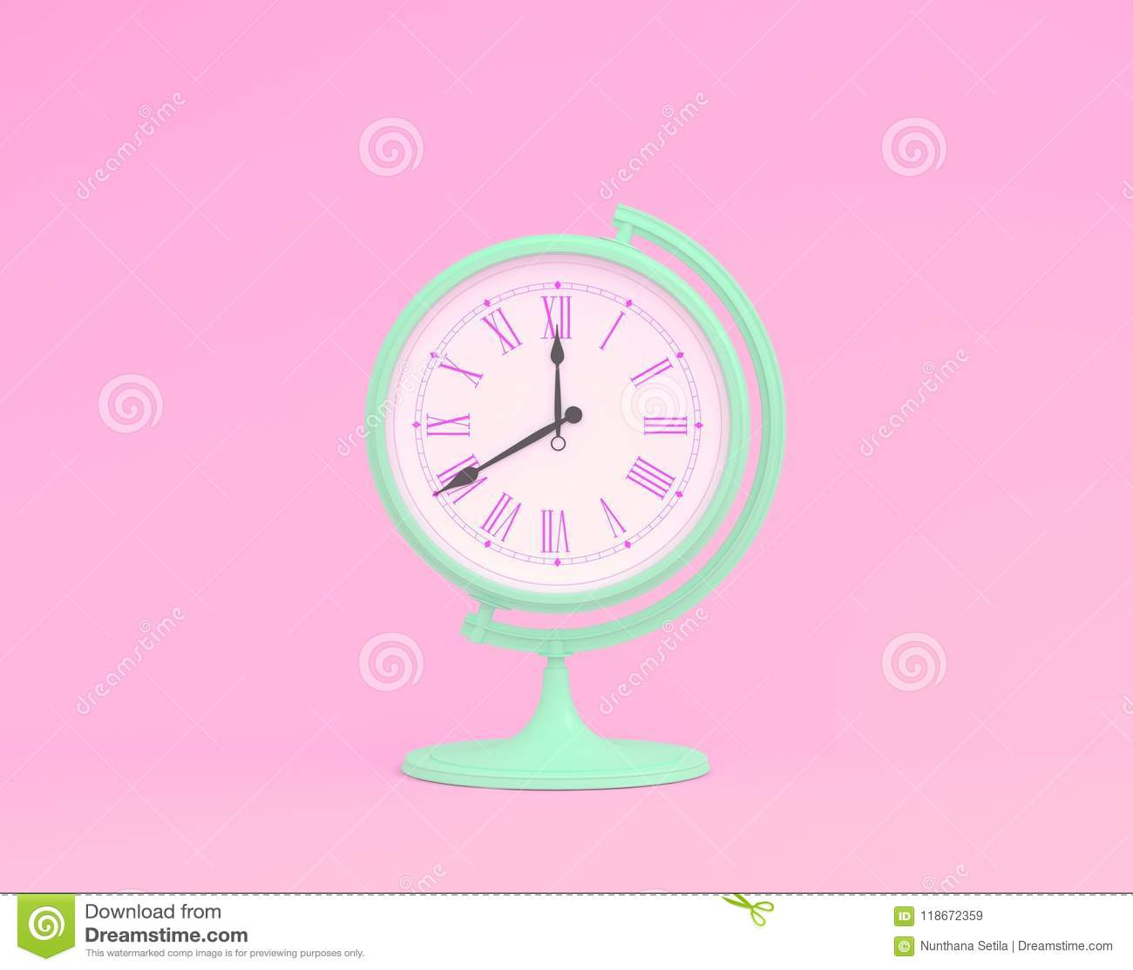 Horloge créative de globe de sphère de globe de disposition d idée sur le backg en pastel rose