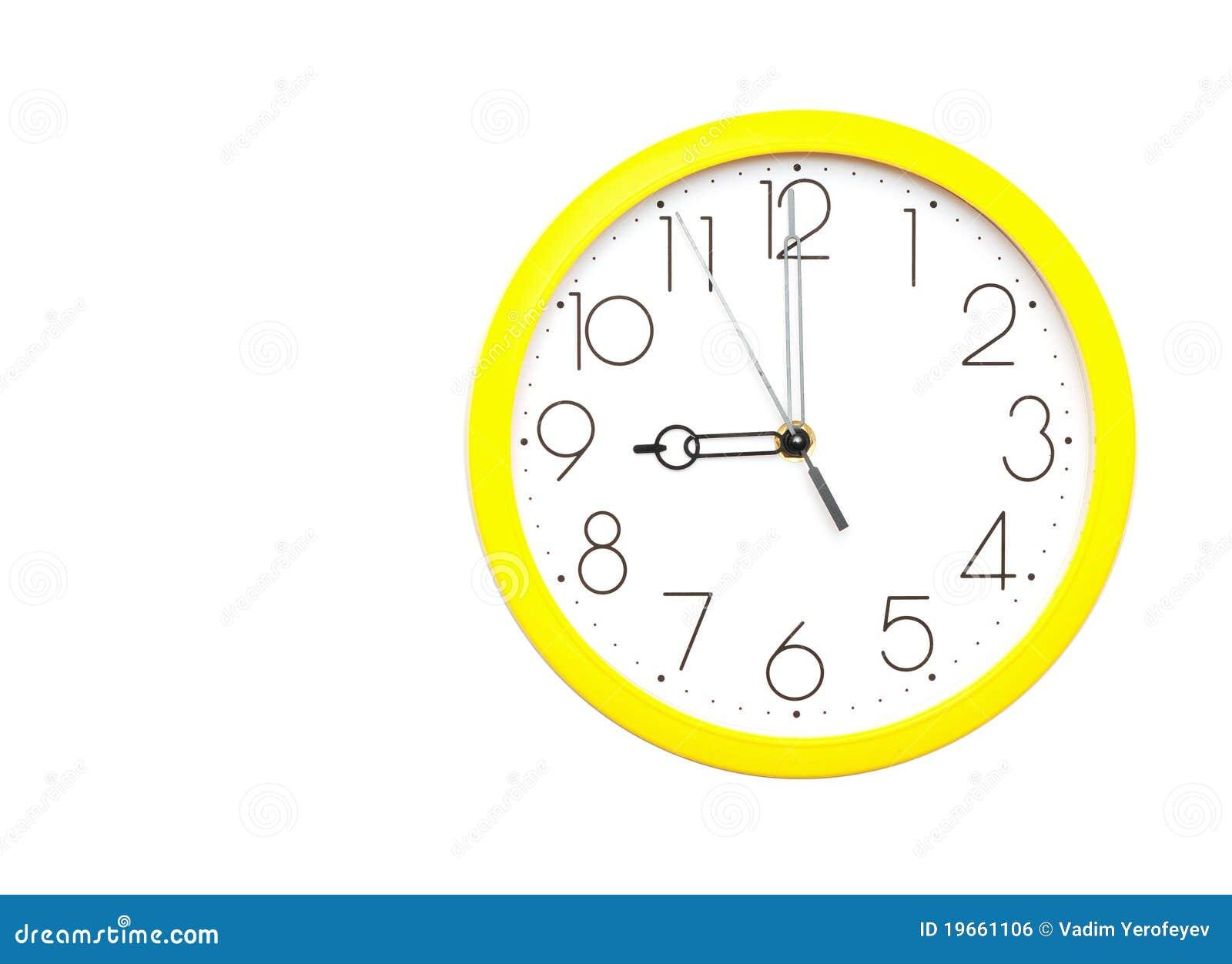 Horloge de mur jaune