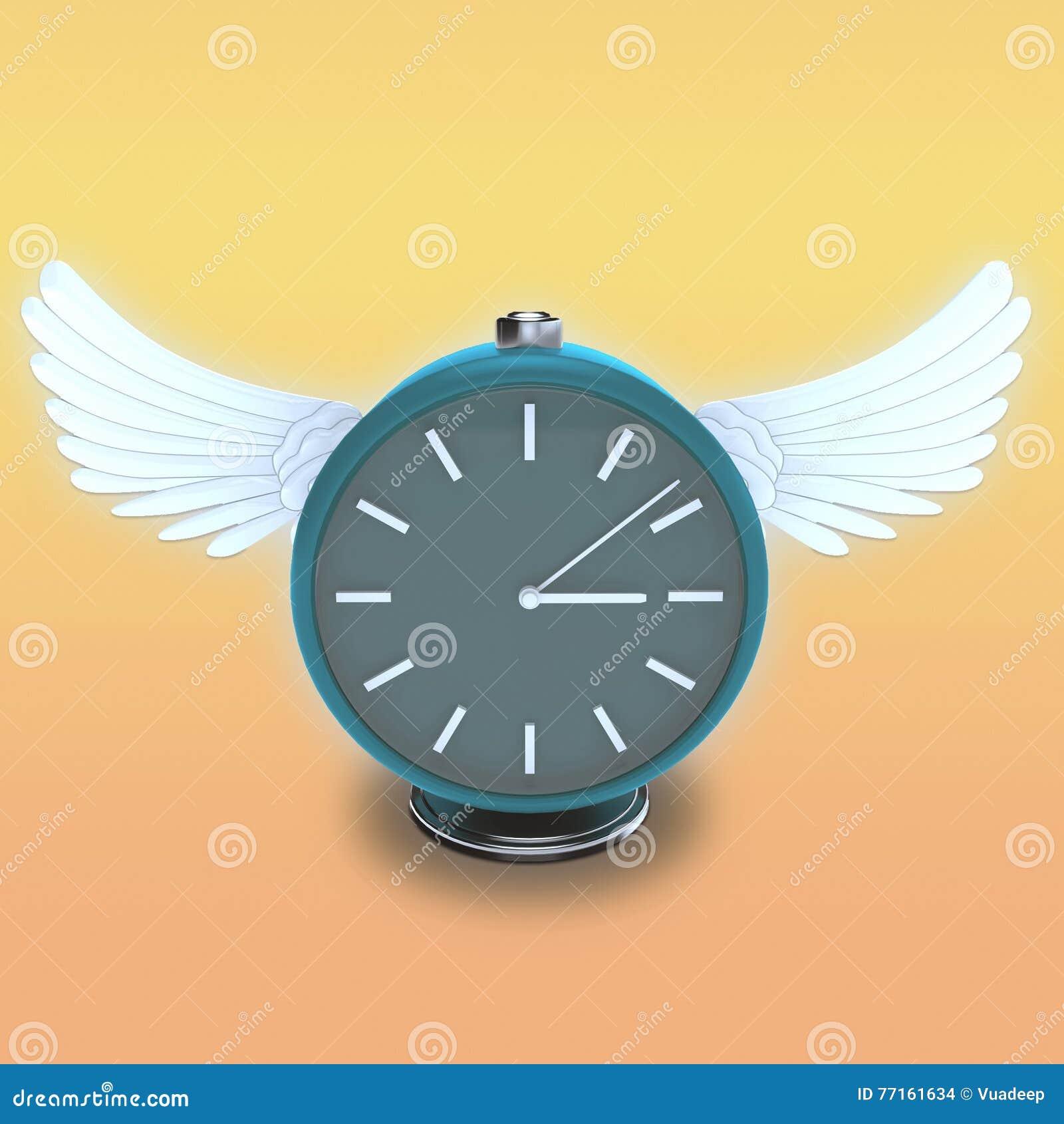 Horloge de table ronde avec les ailes blanches