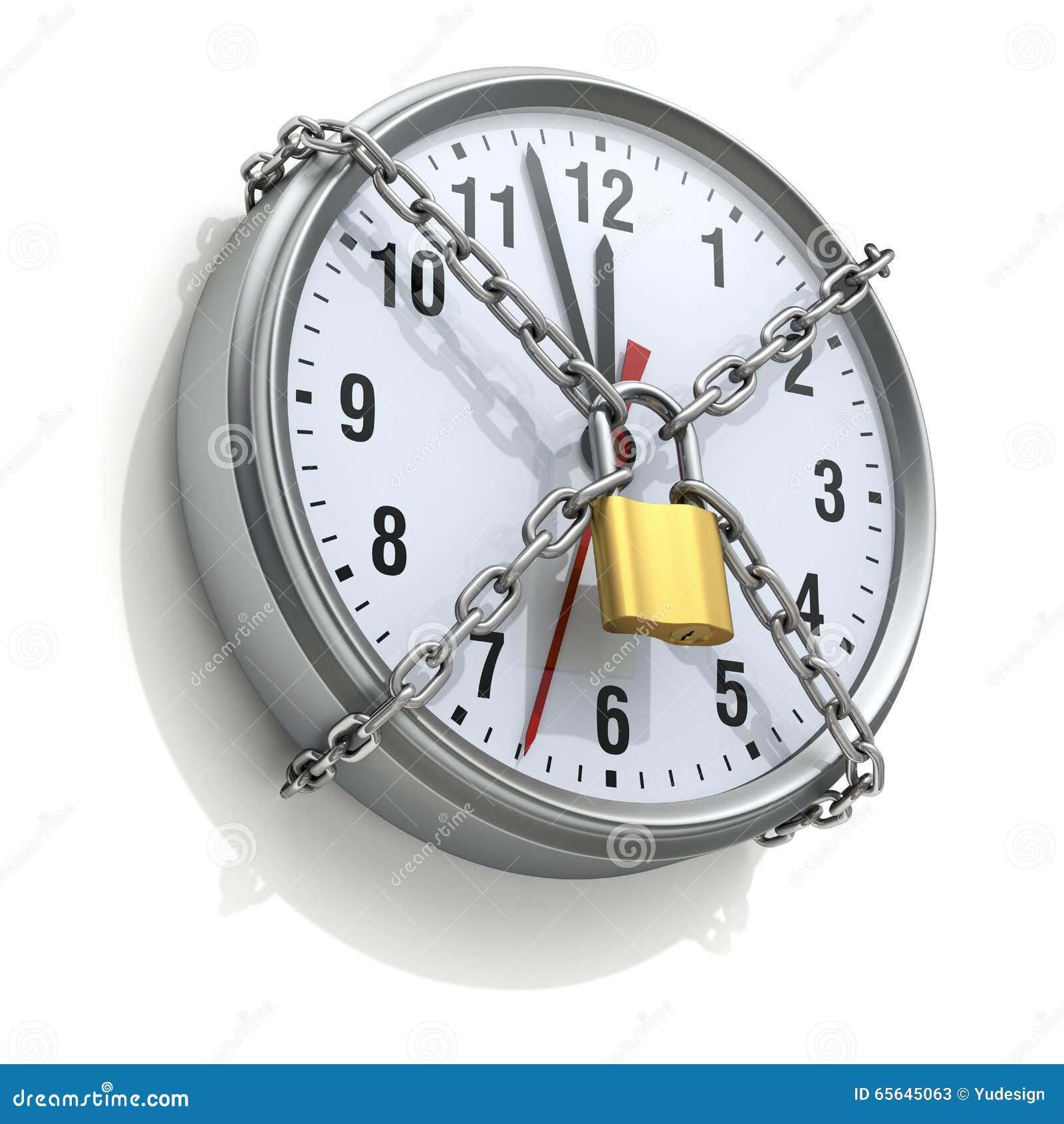 Horloge murale avec la chaîne et le cadenas