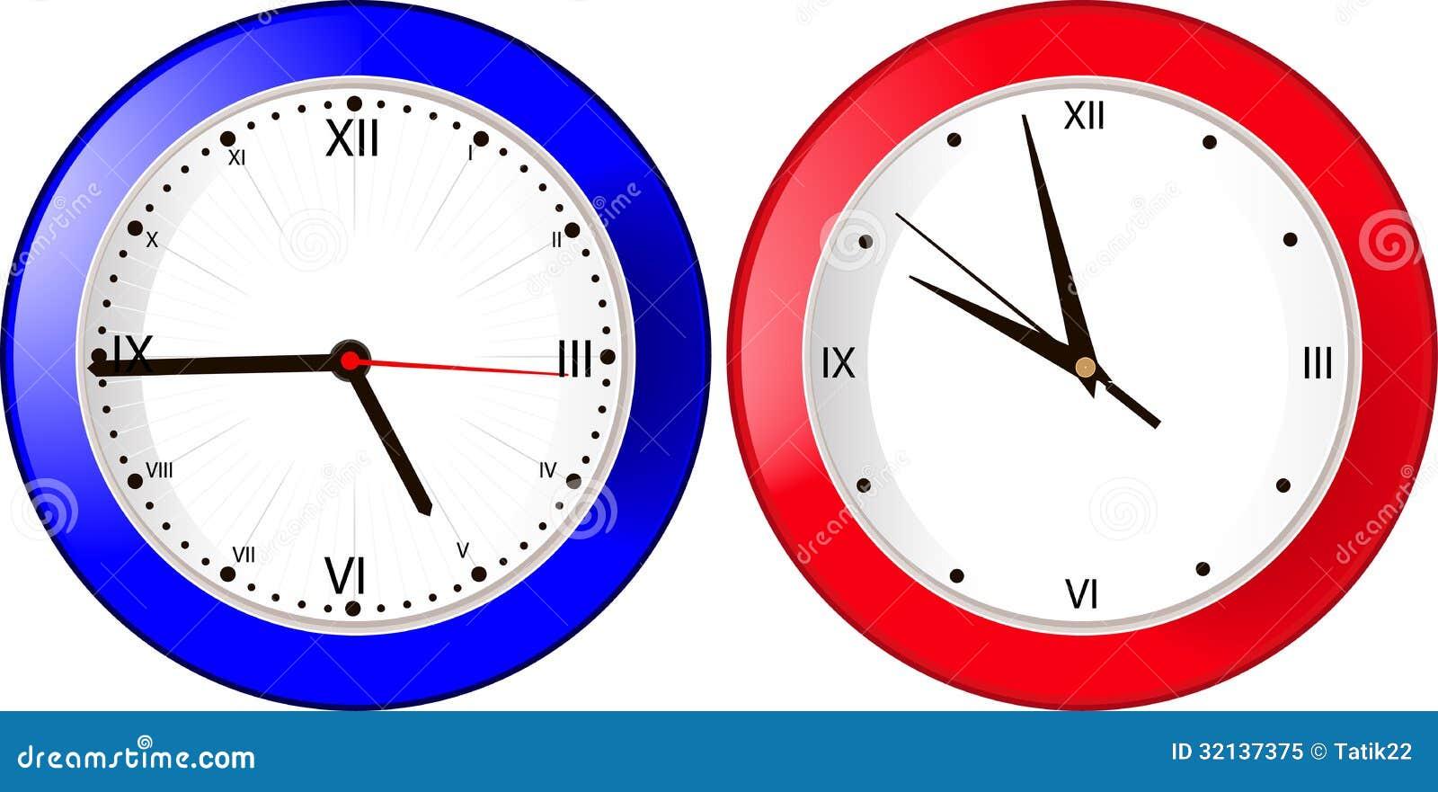 horloge murale bleue et rouge image stock image du rond temps 32137375. Black Bedroom Furniture Sets. Home Design Ideas