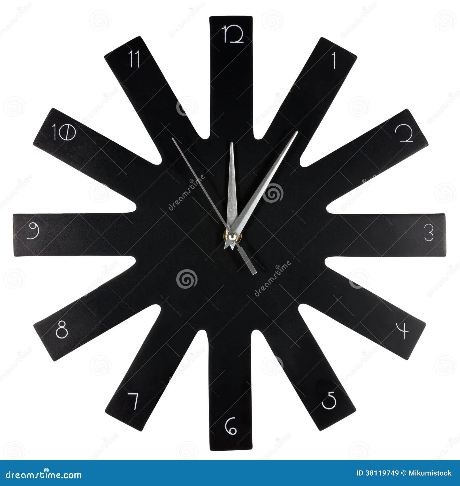 horloge murale moderne noire images libres de droits. Black Bedroom Furniture Sets. Home Design Ideas