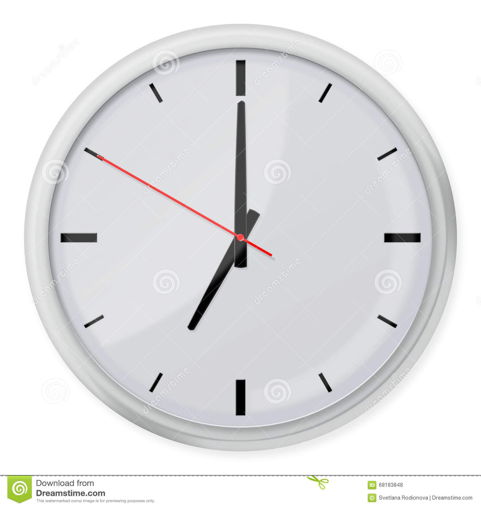 horloge murale ronde avec des ombres d 39 isolement sur le fond blanc illustration stock image. Black Bedroom Furniture Sets. Home Design Ideas