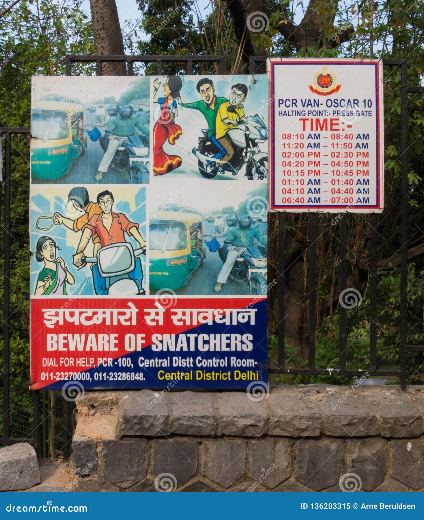 Horloge uit voor Snatchers-Teken in New Delhi, India