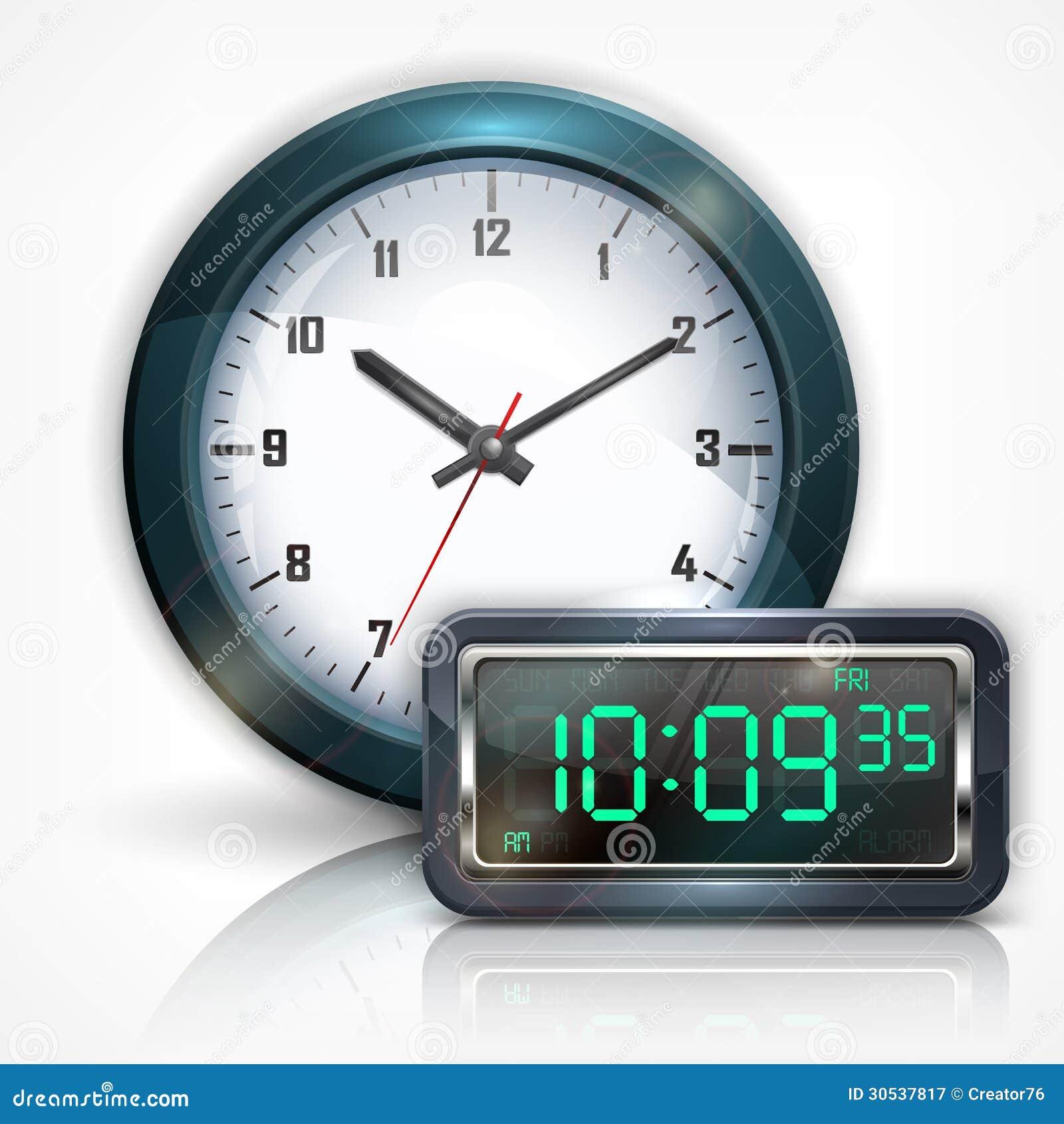 Horloges murales et cadran électronique sur le blanc