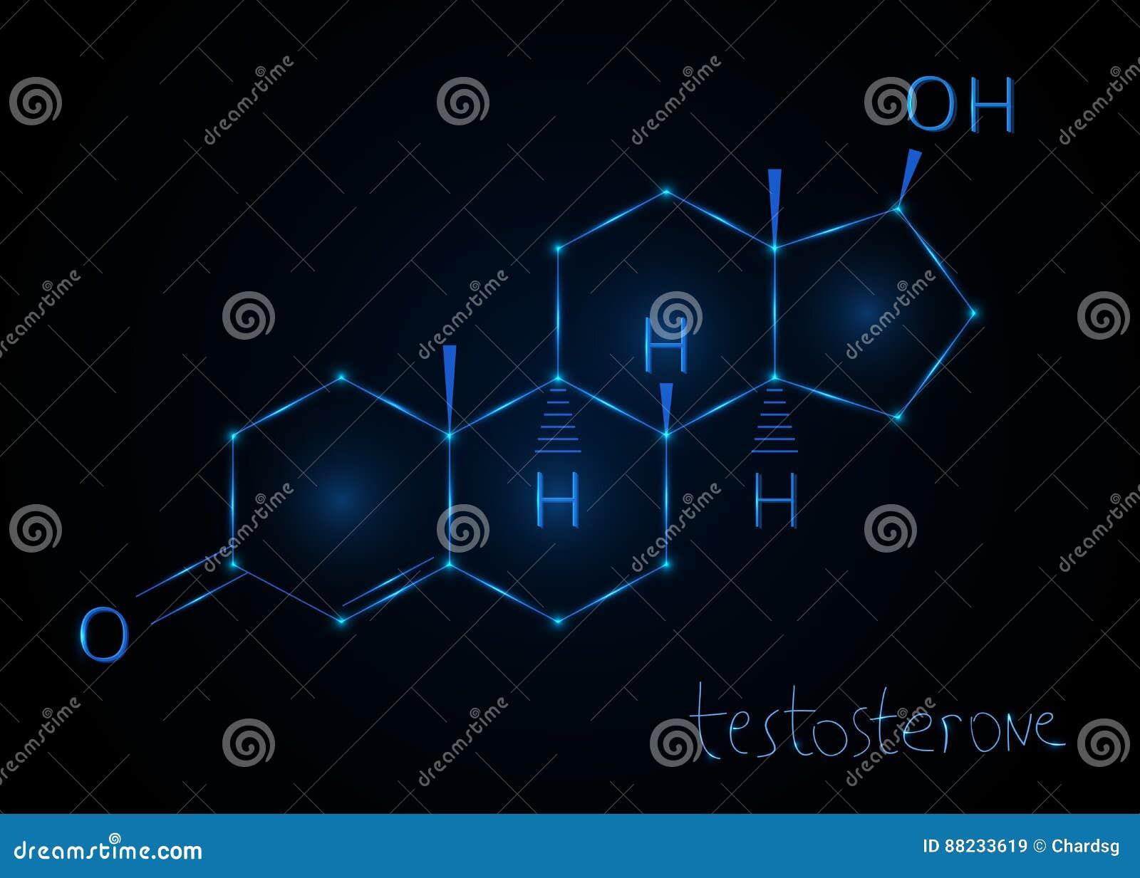 Hormontestosteron, molekylär formel Abstrakt bakgrund för kemikalie också vektor för coreldrawillustration